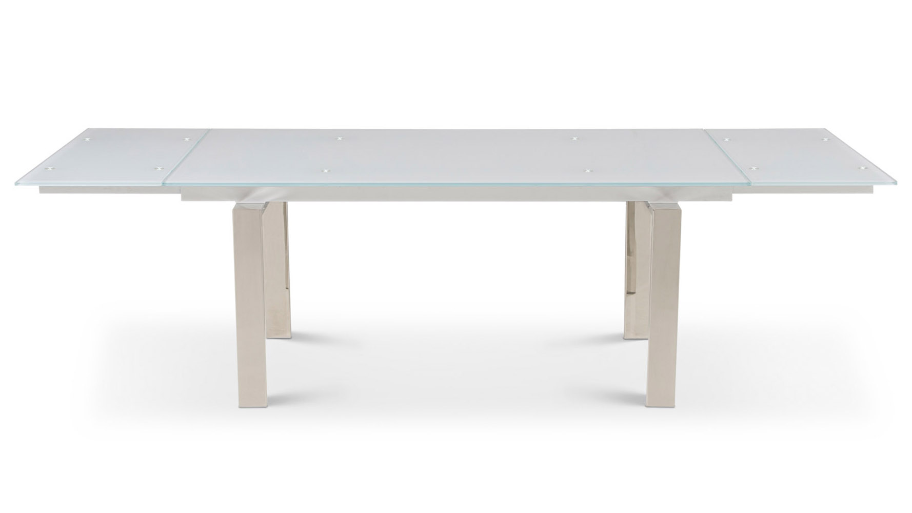 Montez White Glass Extendable Modern Dining Table Seats Eight