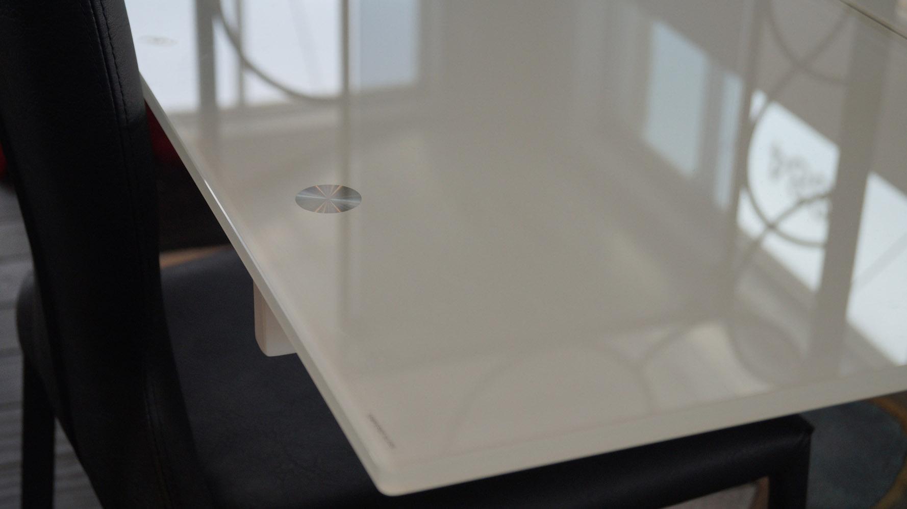 Montez White Glass Extendable Modern Dining Table Seats