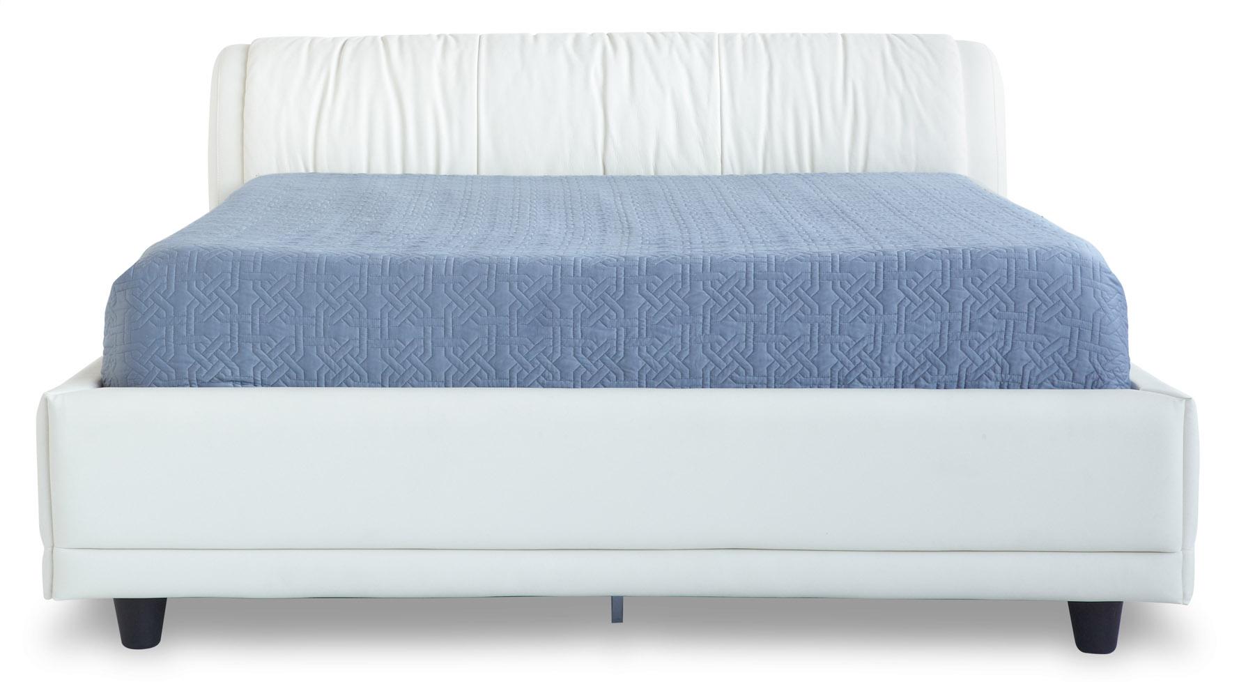 morocco white leather platform bed with storage zuri furniture. Black Bedroom Furniture Sets. Home Design Ideas