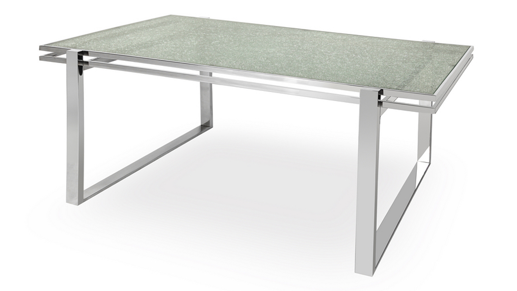 Mosaic dining table cracked glass top stainless steel bas - Broken glass dining table ...