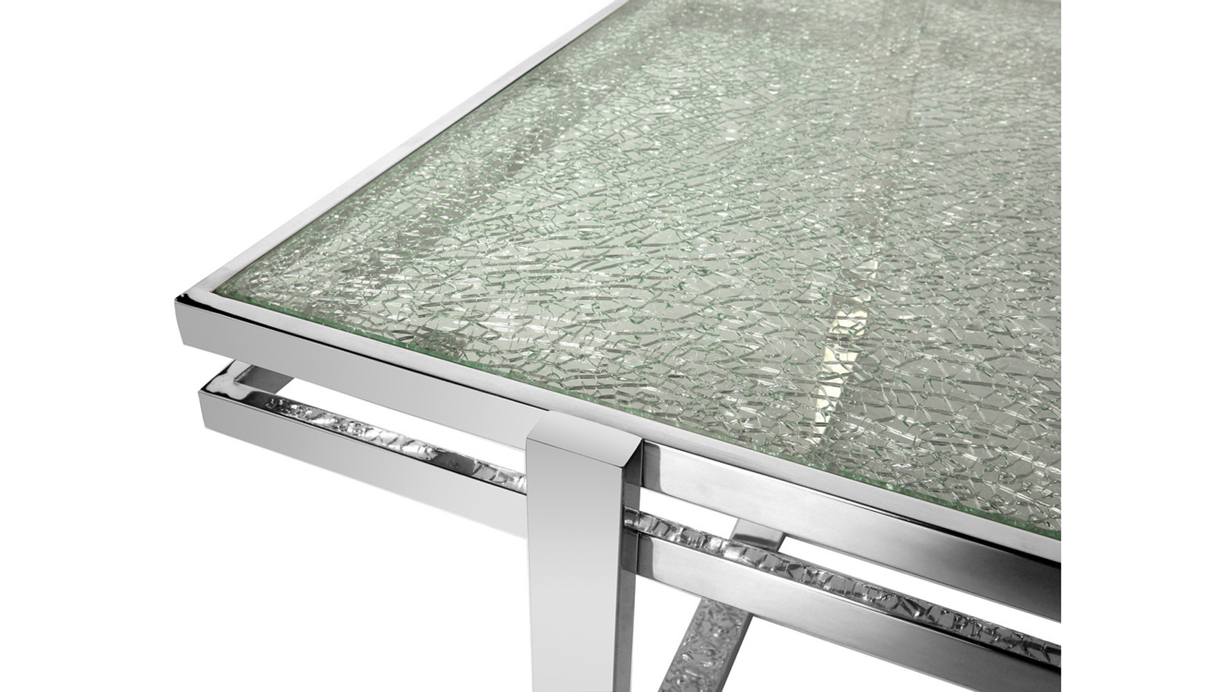 Mosaic Dining Table Cracked Glass Top Stainless Steel Bas | Zuri Furniture