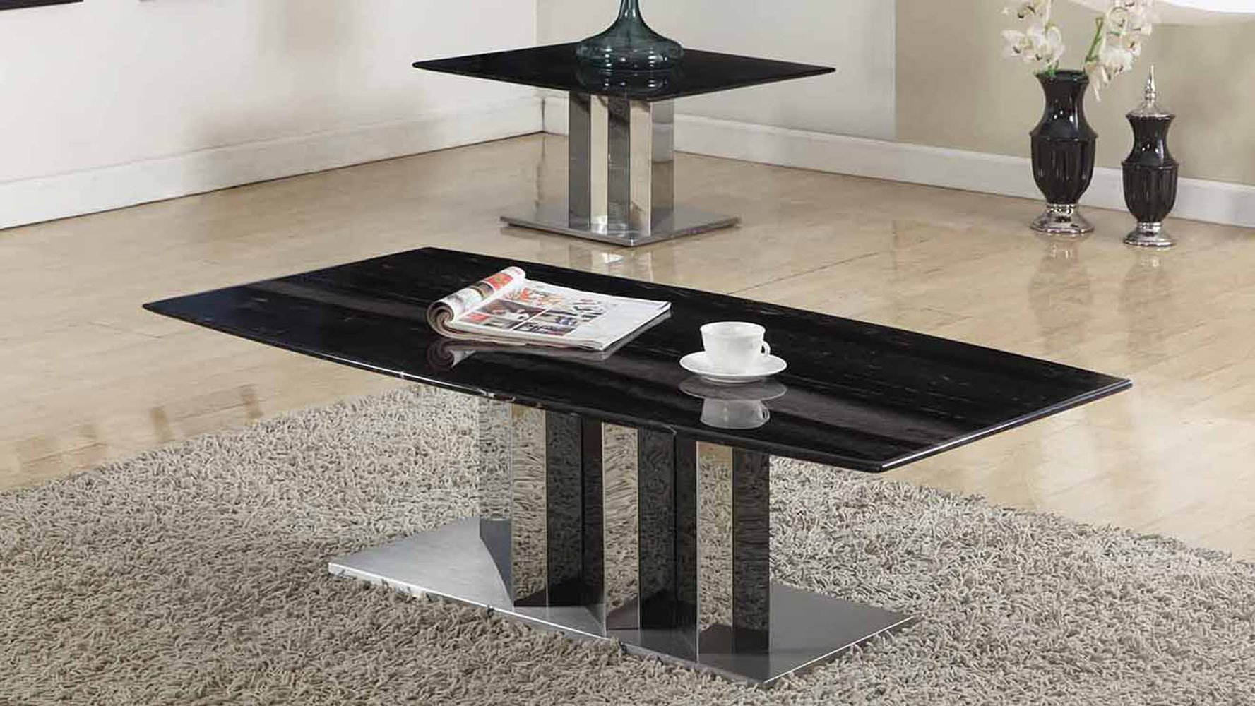 Nero Black And White Marble Coffee Table With Polished