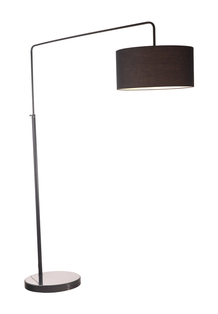 Black marble nero floor lamp with fabric shade zuri for Nero 5 light floor lamp