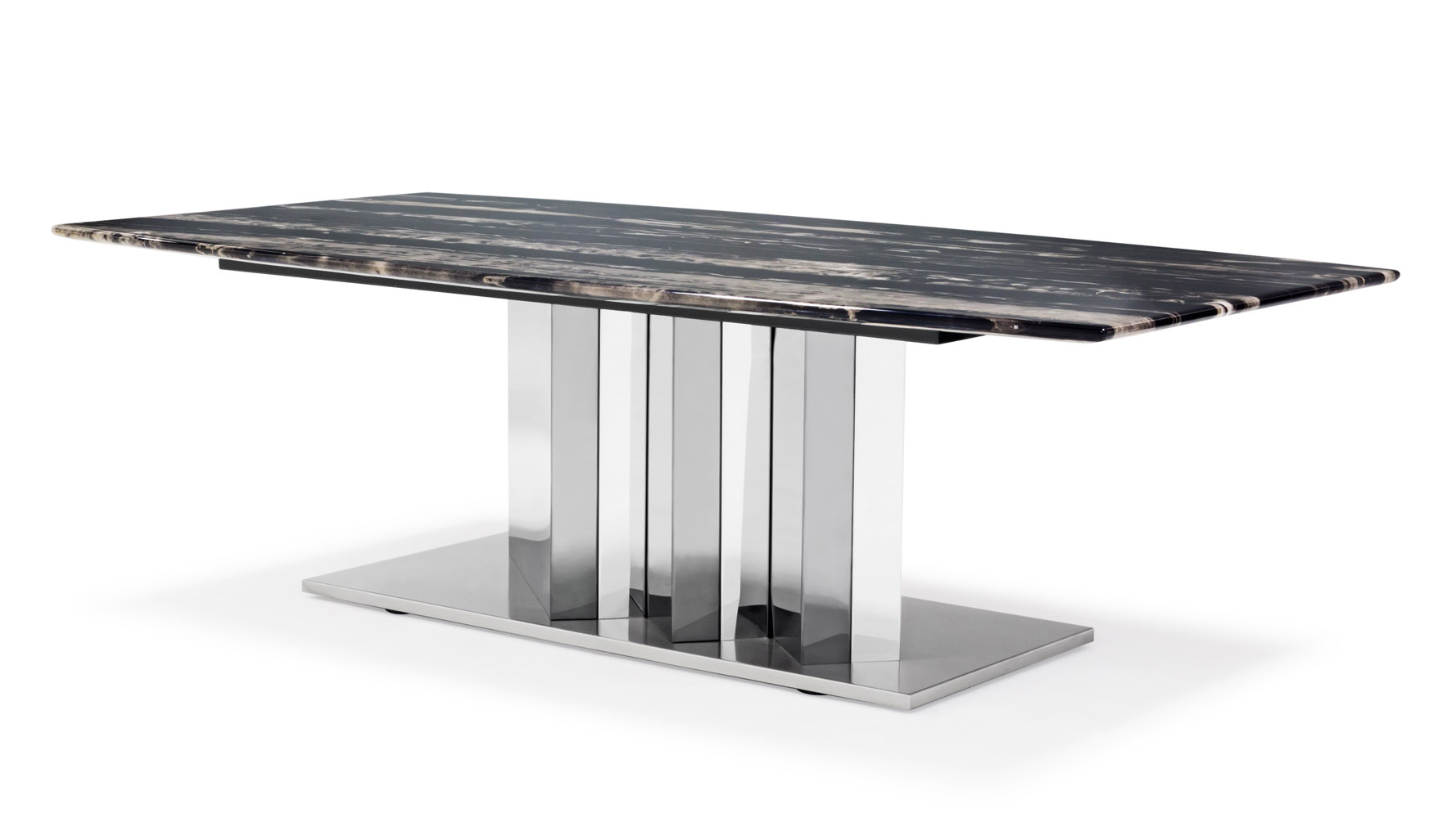 Nero Black and White Marble Coffee Table with Polished Stainless