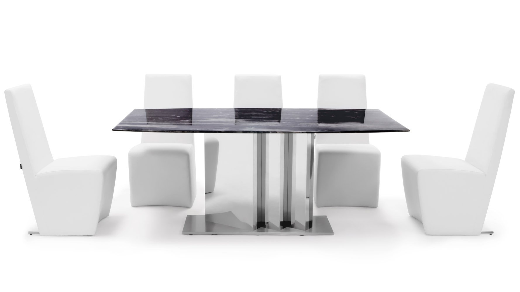 nero modern dining table with marble top and mirrored base black