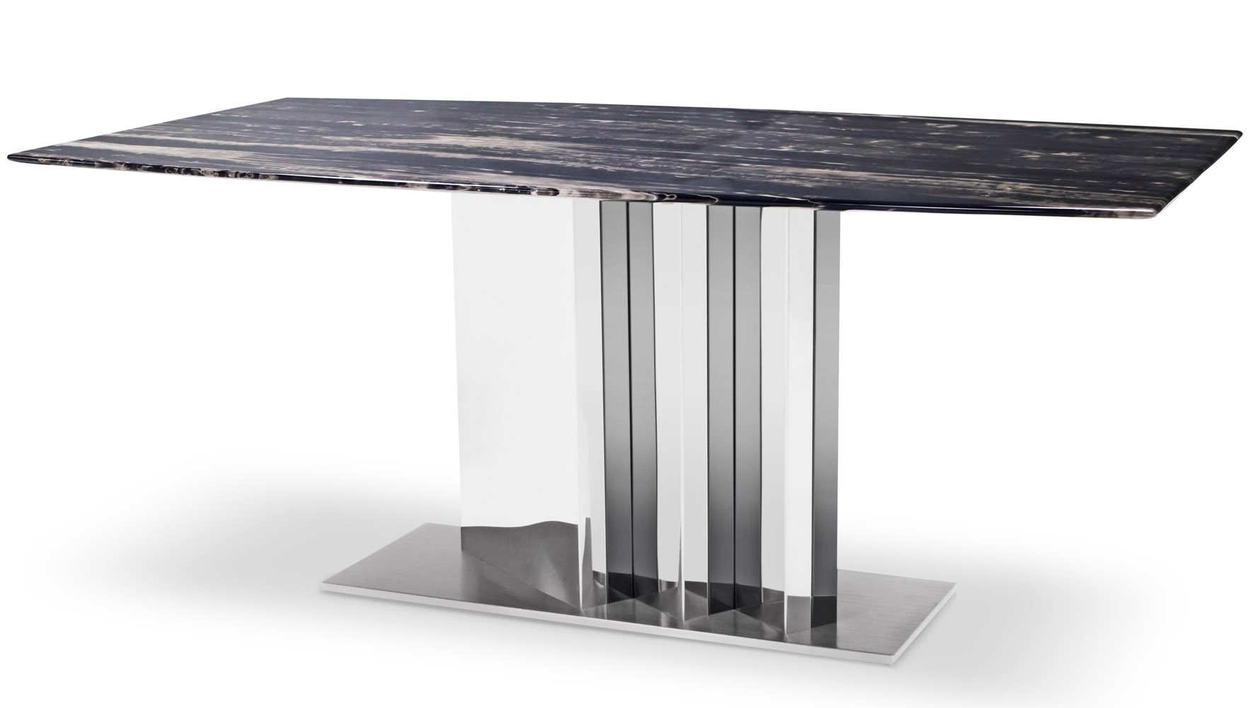 Nero Modern Dining Table With Black Marble Top And Stainless Steel Base Zuri Furniture