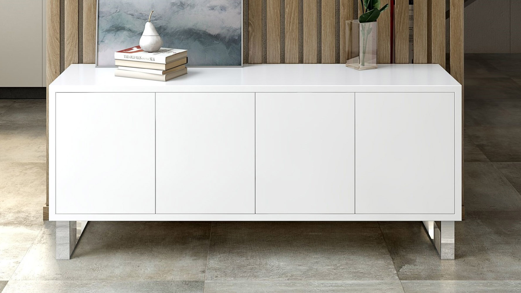 Neve Sideboard In White High Gloss Lacquer With Polished