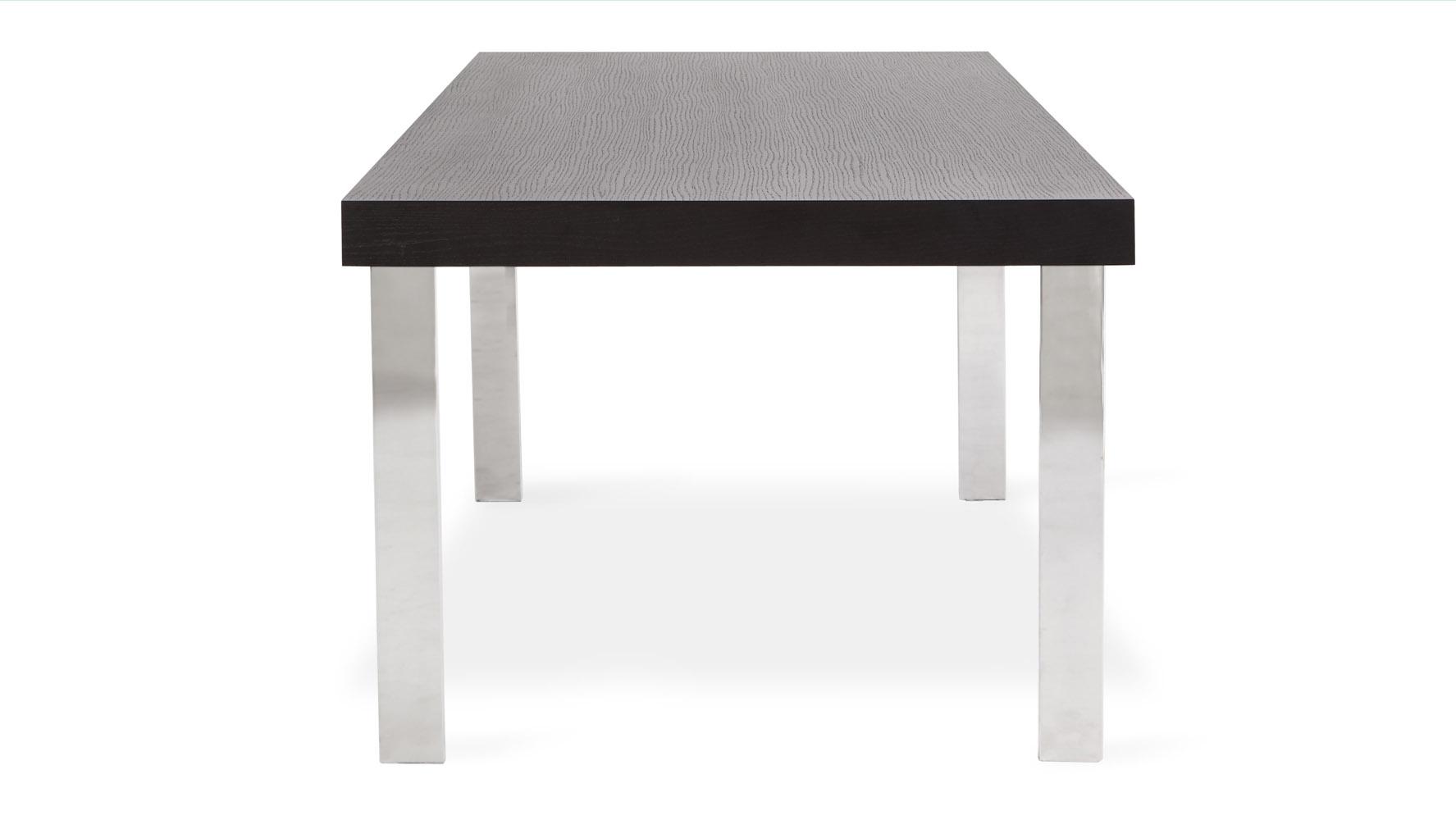 norah modern espresso wood dining table with chrome legs zuri