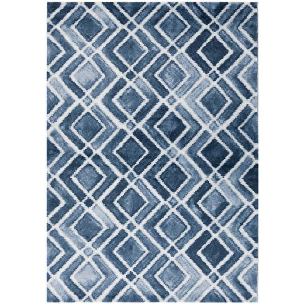 Nova Diamond Rug - Navy/Denim/Light Gray
