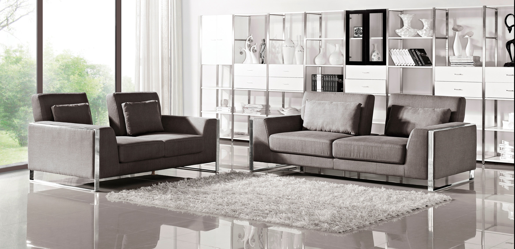 Grey Orion Fabric Sofa Set With Adjustable Backrests Zuri Furniture