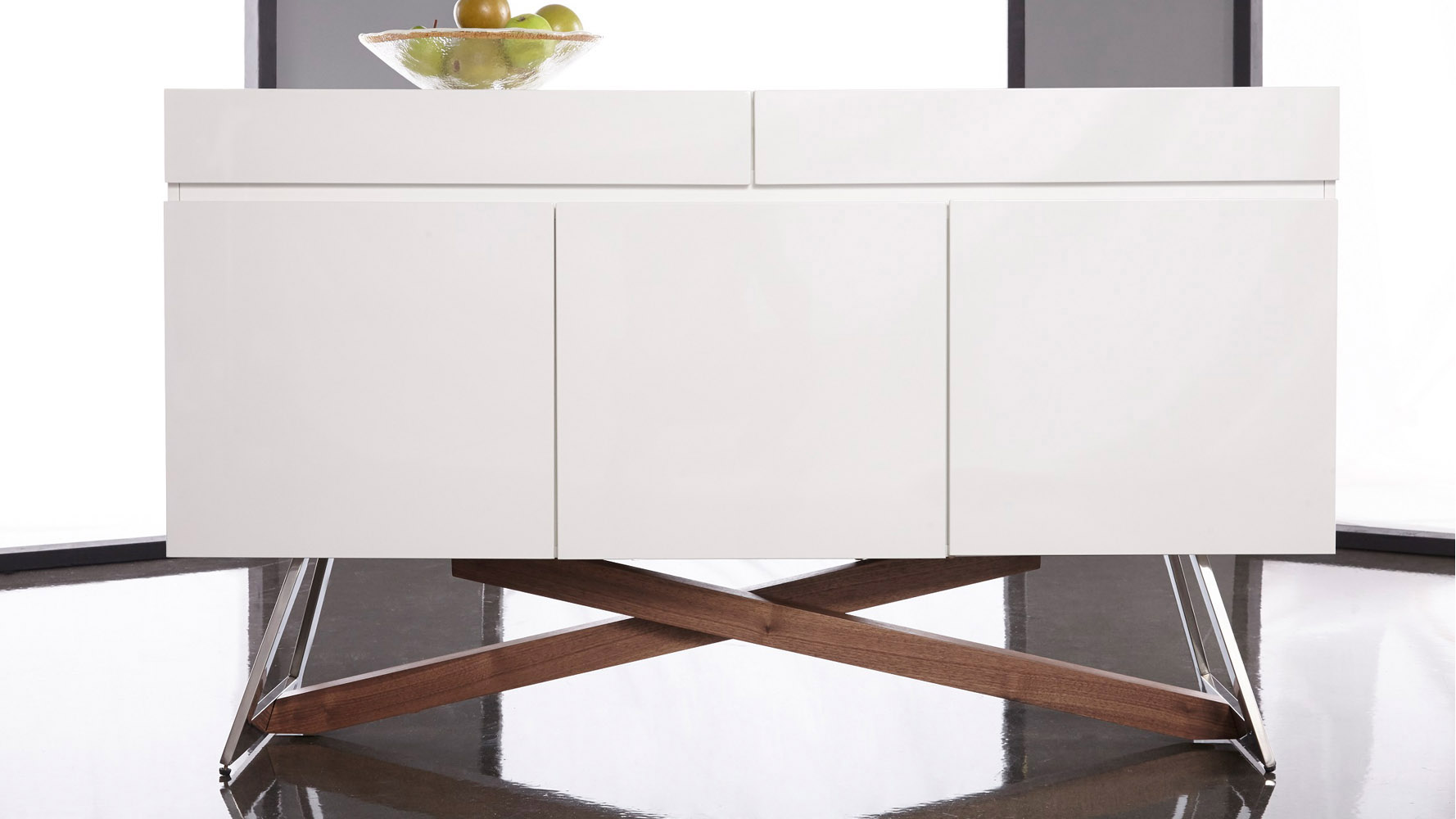 Ortler console table high gloss white and walnut zuri furniture ortler console table geotapseo Gallery