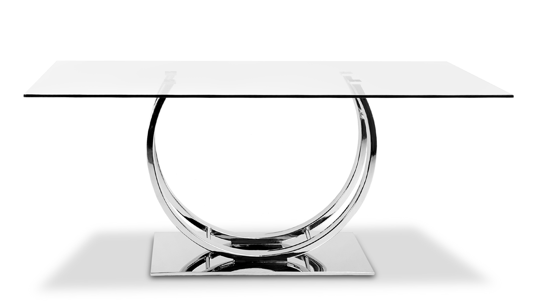Palazzo glass modern dining table with polished chrome for Glass and chrome dining table