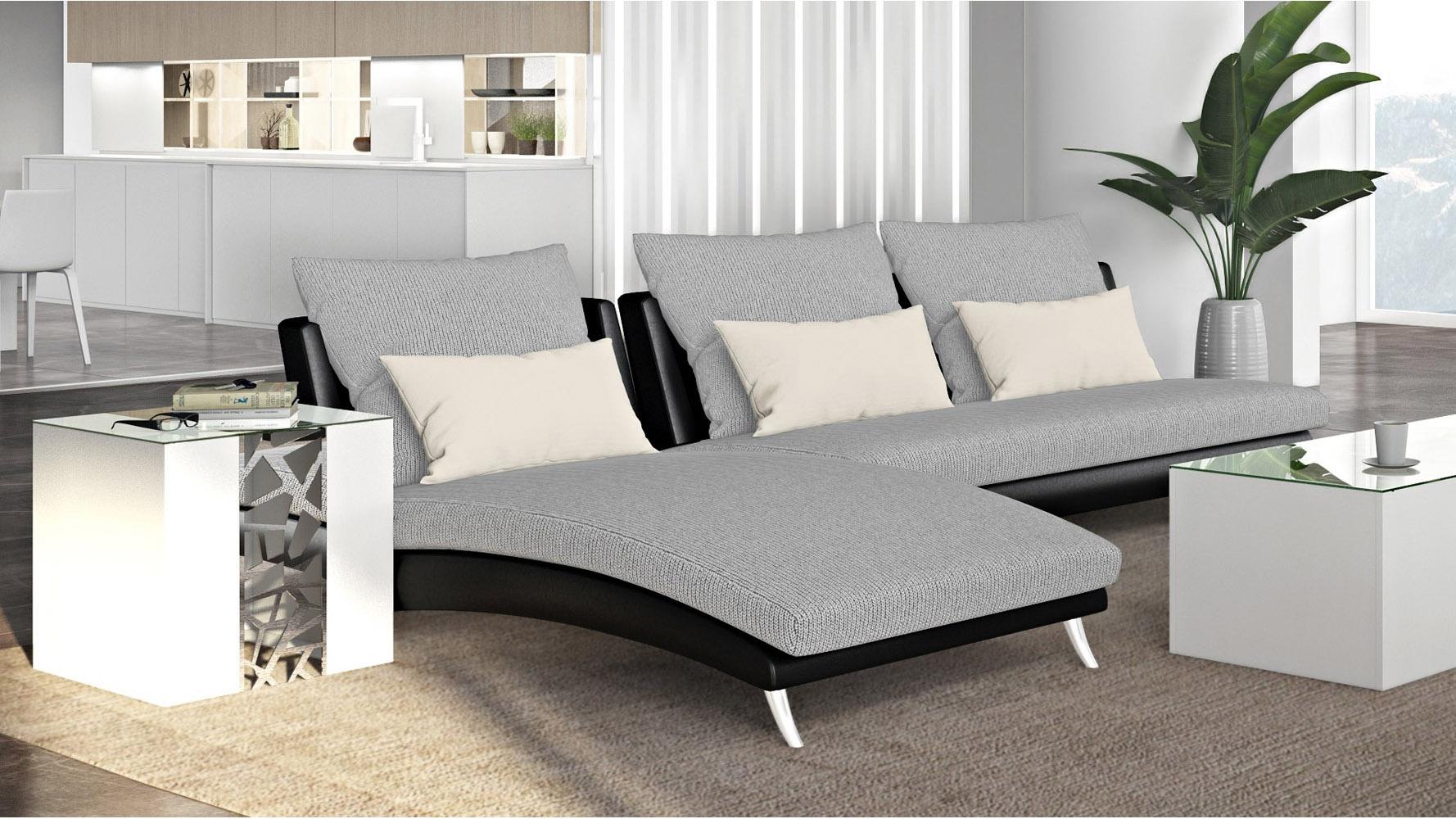 Palms Modular Chaise Fabric Cushions Leatherette Black