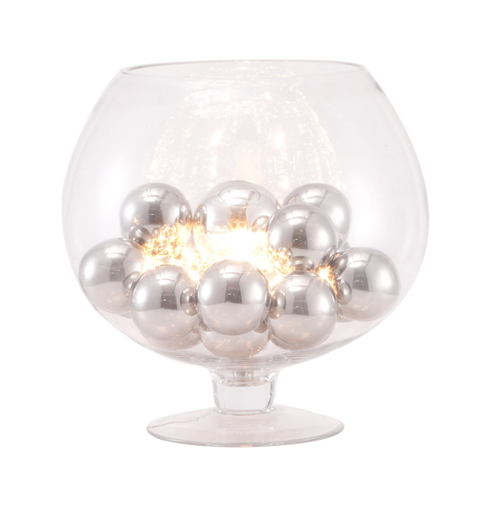 Clear Glass And Chrome Pearl Table Lamp Zuri Furniture