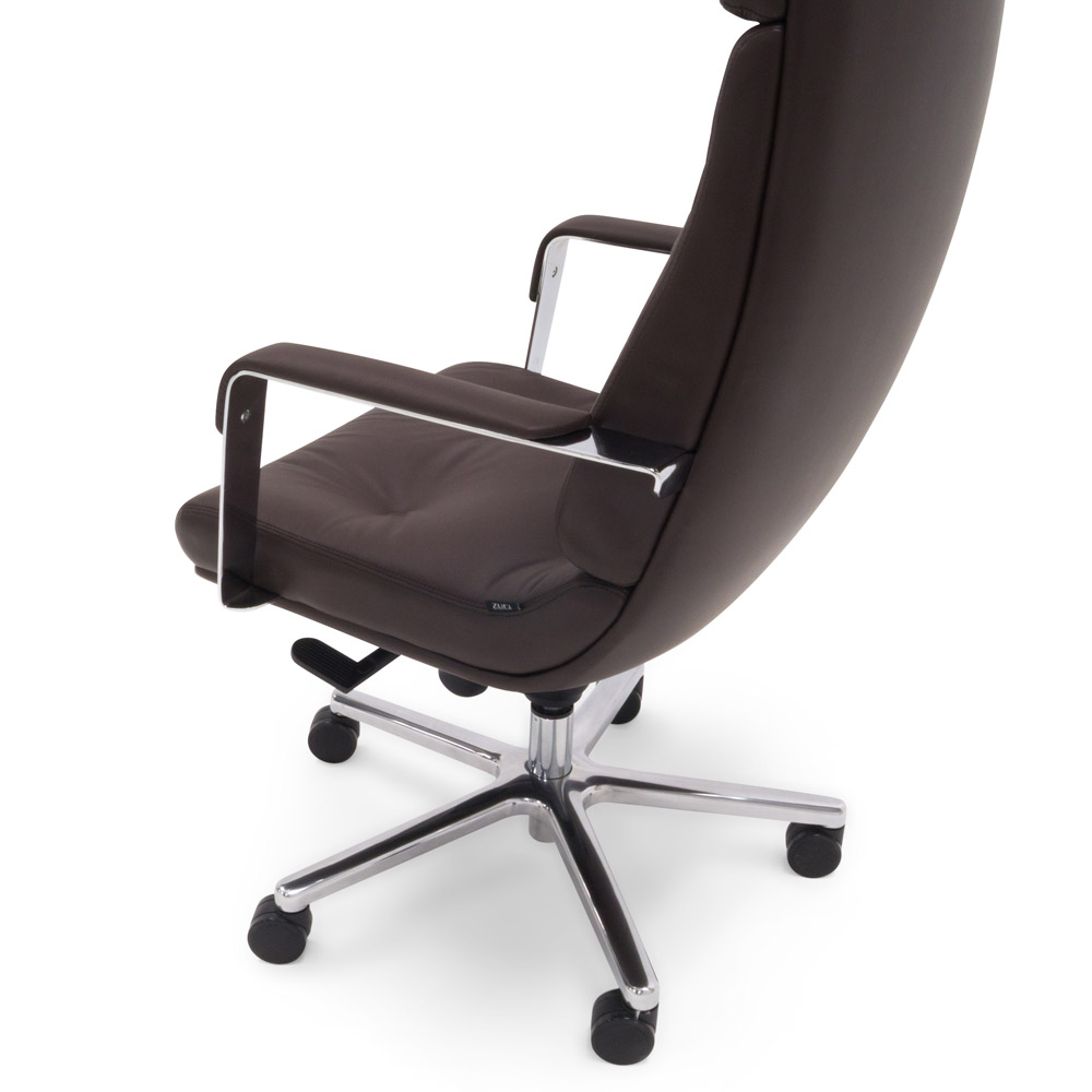 Leather Aluminum Base High Back Executive Chair Zuri Furniture