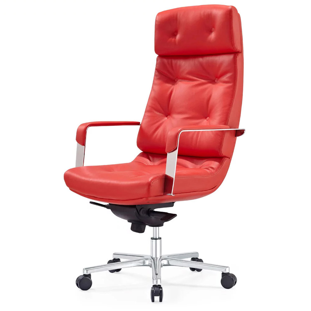 Genuine leather executive chair on sale - Perot Genuine Leather Aluminum Base High Back Executive Chair Red Zuri Furniture