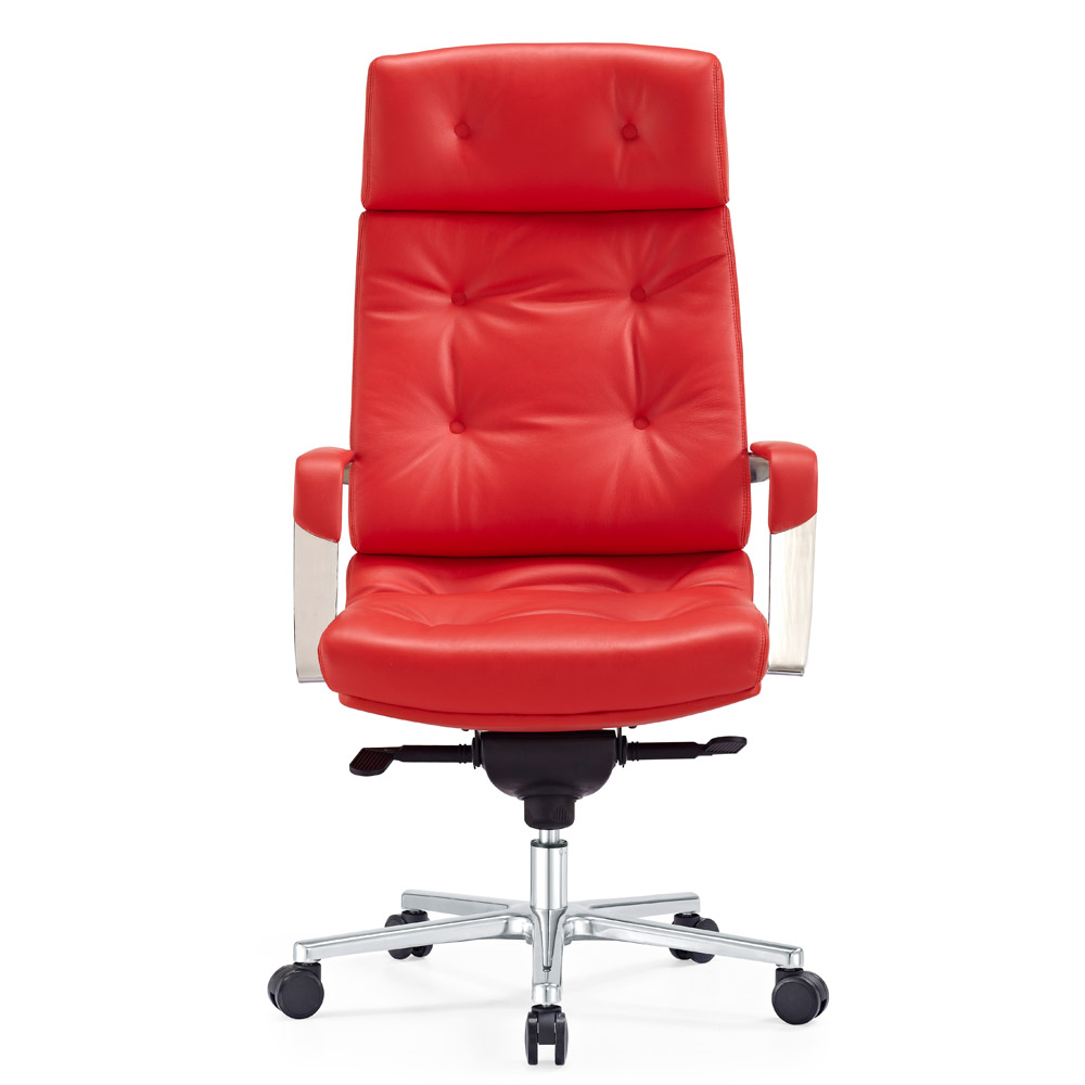 Perot Leather Executive Chair Red