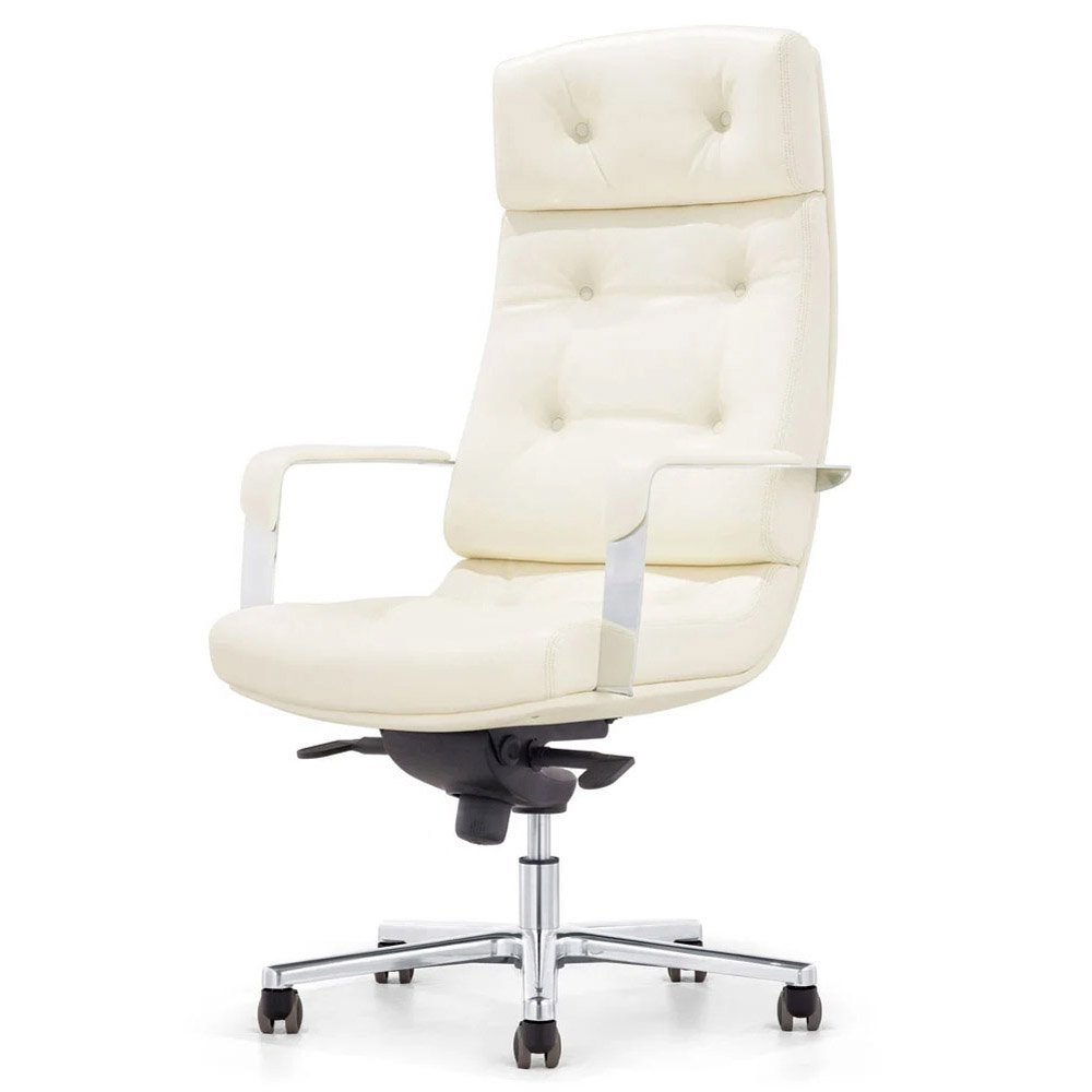 perot genuine leather aluminum base high back executive chair