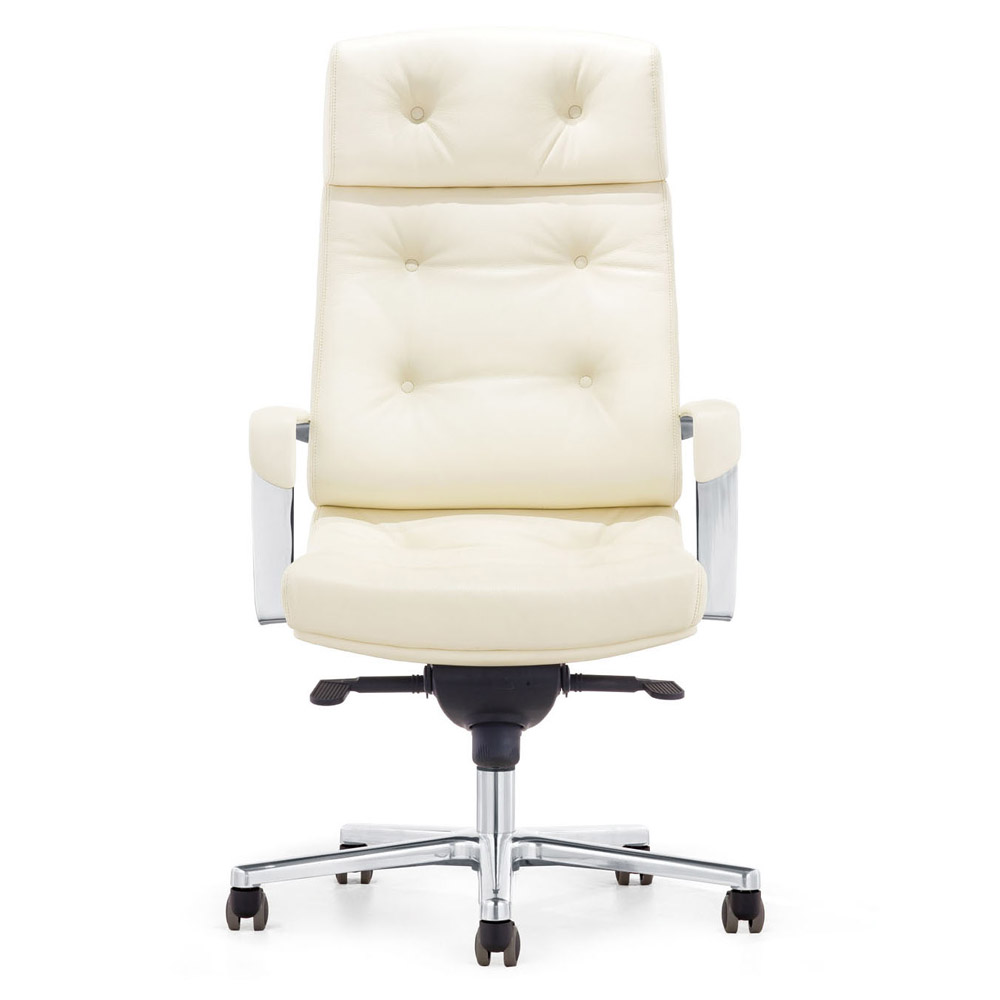 office chair genuine leather white. Perot Genuine Leather Aluminum Base High Back Executive Chair | Zuri Furniture Office White E