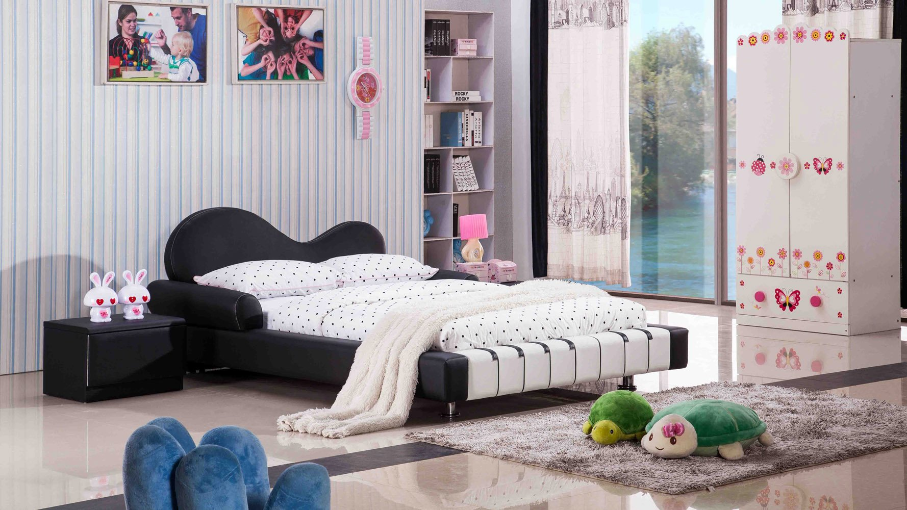 Piano Leather Upholstered Black and White Kid's Twin Bed | Zuri Furniture