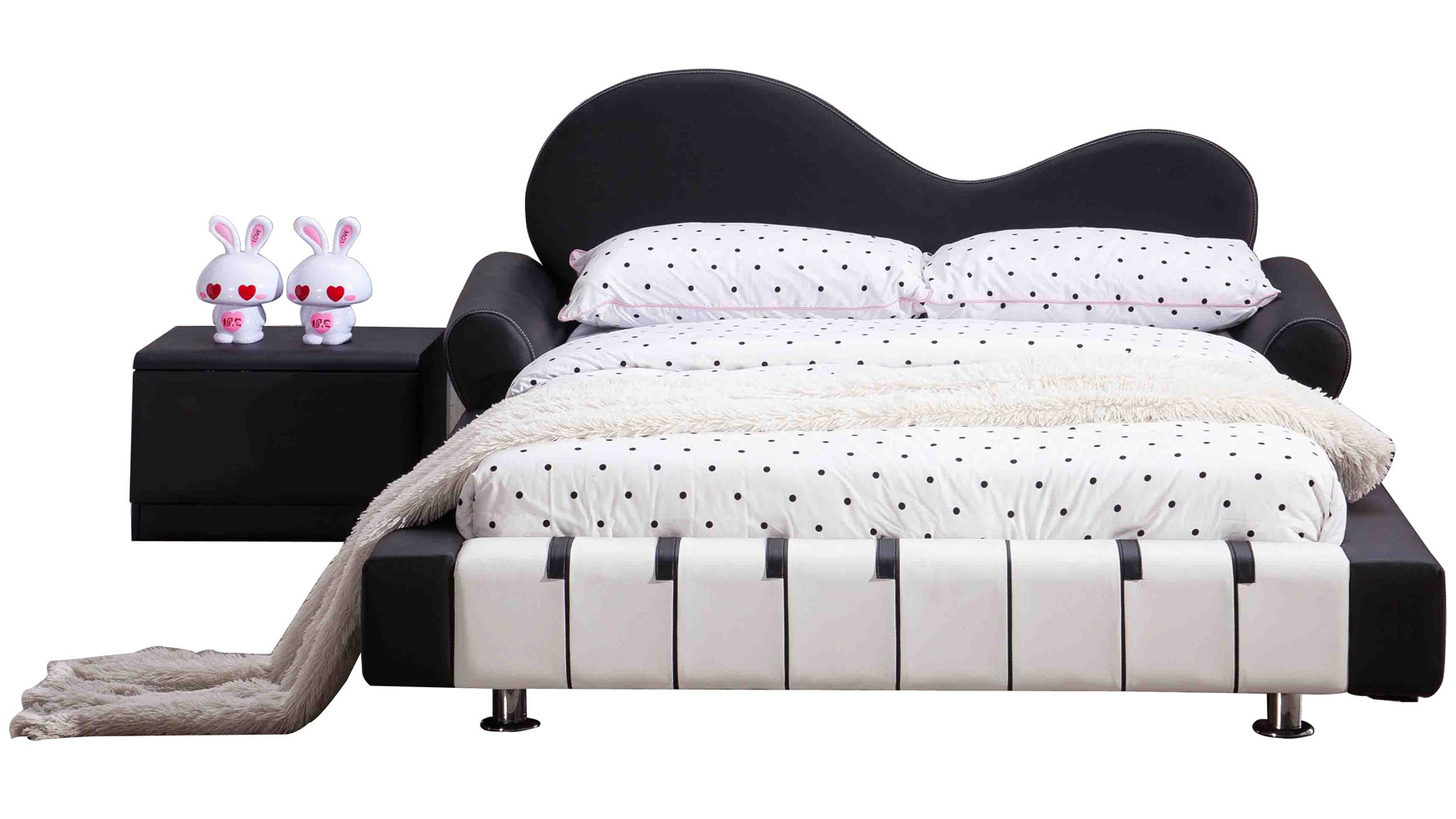 Piano Leather Upholstered Black And White Kid S Twin Bed