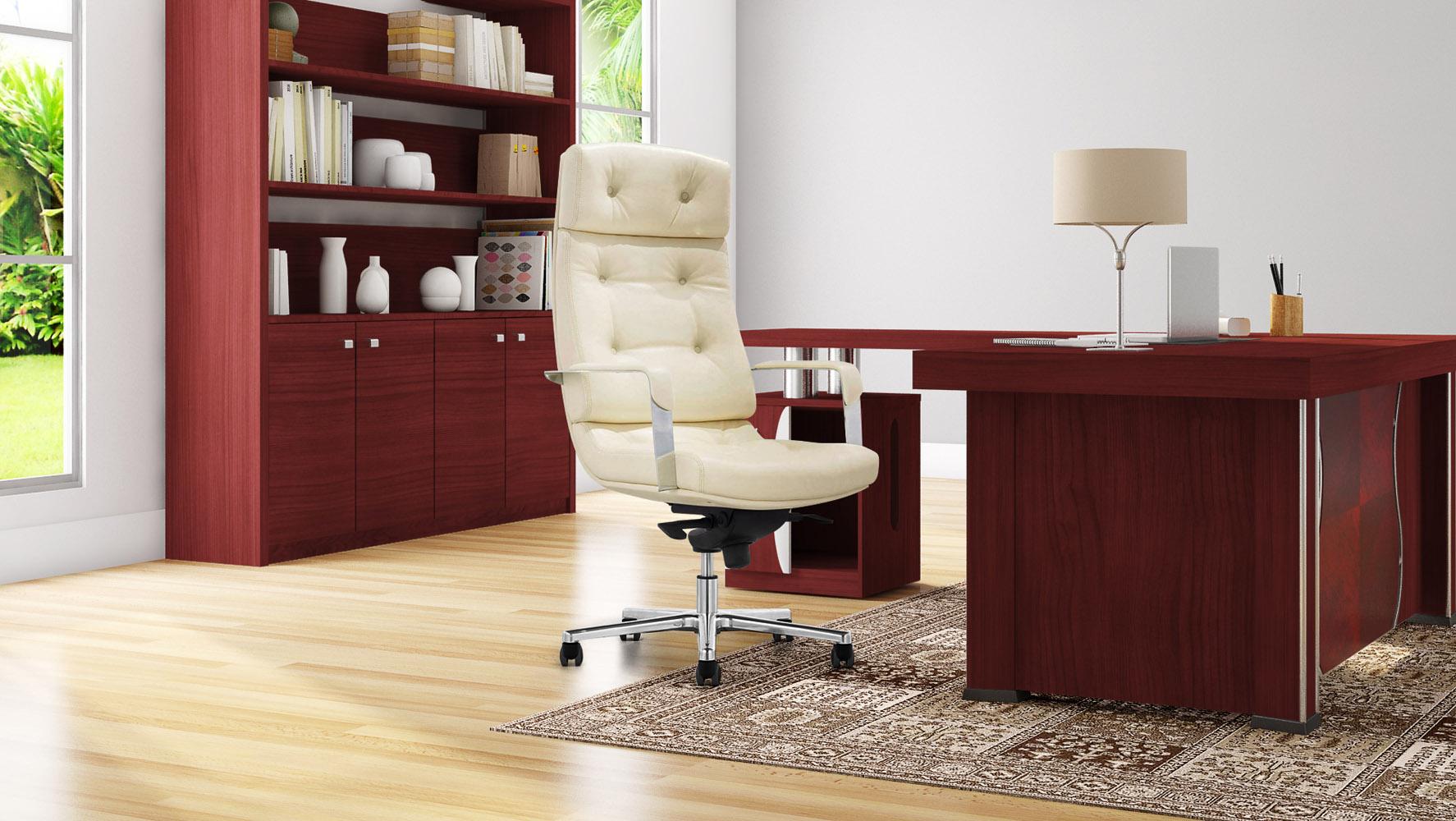 Pierce Mahogany Executive Desk With Return   Modern U0026 Contemporary Office    Zuri Furniture