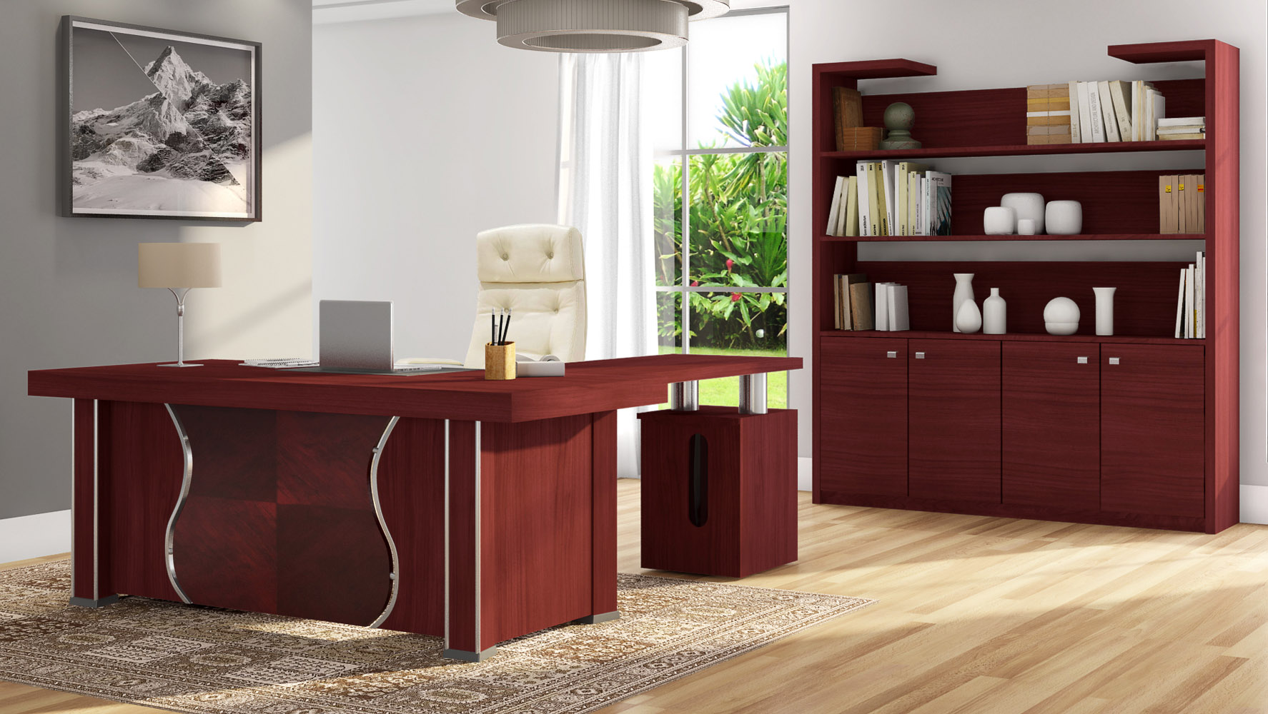 pierce polished mahogany modern desk with storage zuri furniture