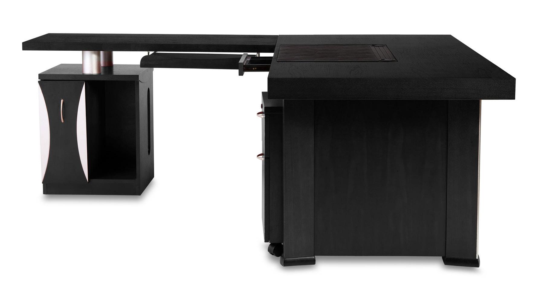 black modern desk pierce black oak modern desk with storage zuri  - modern desk