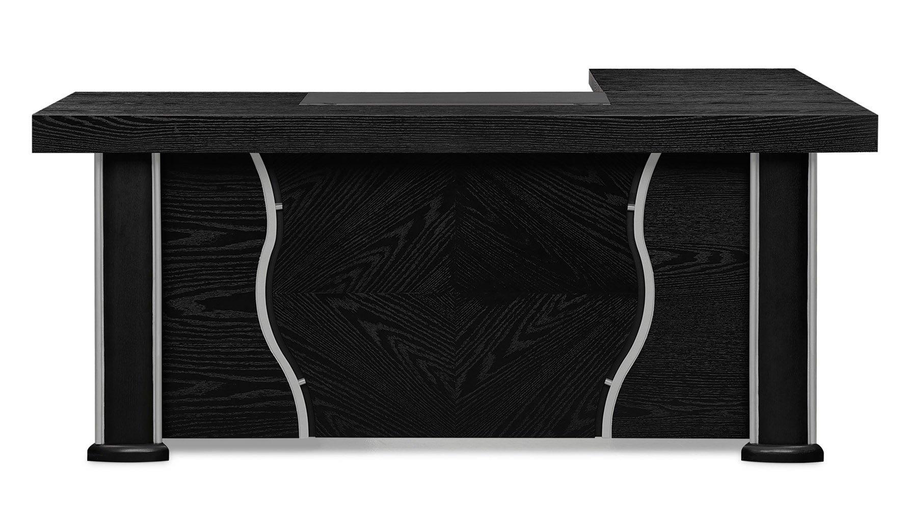 Pierce Black Wood Executive Desk With