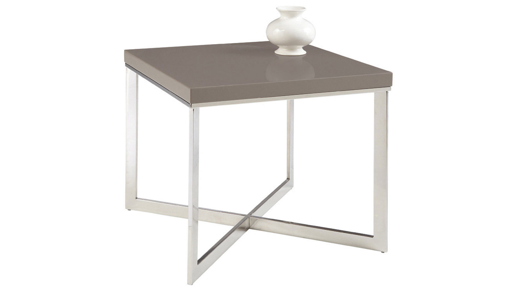 Pilot High Gloss Grey/Chrome Square End Table