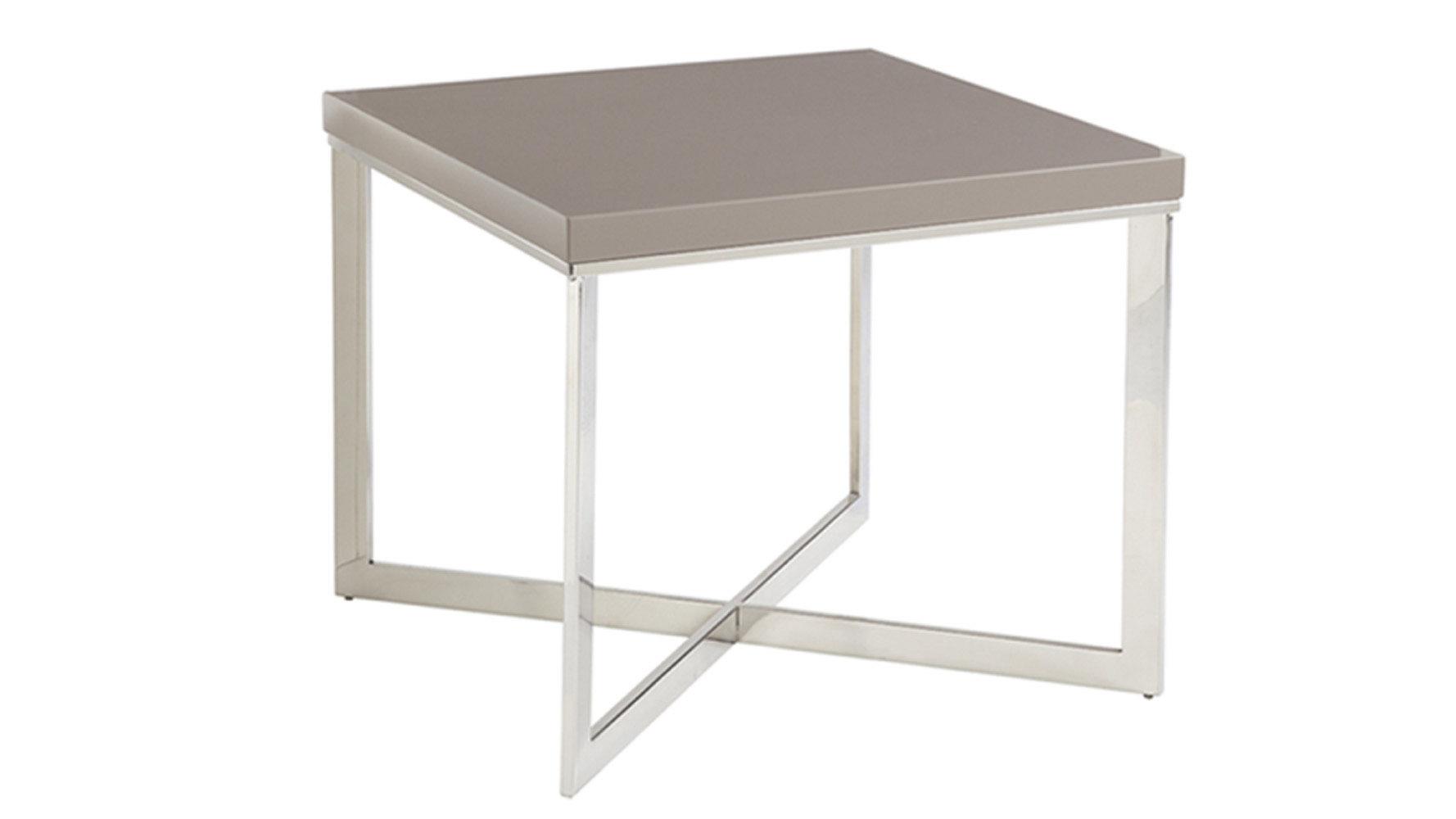Pilot High Gloss Grey/Chrome Square End Table