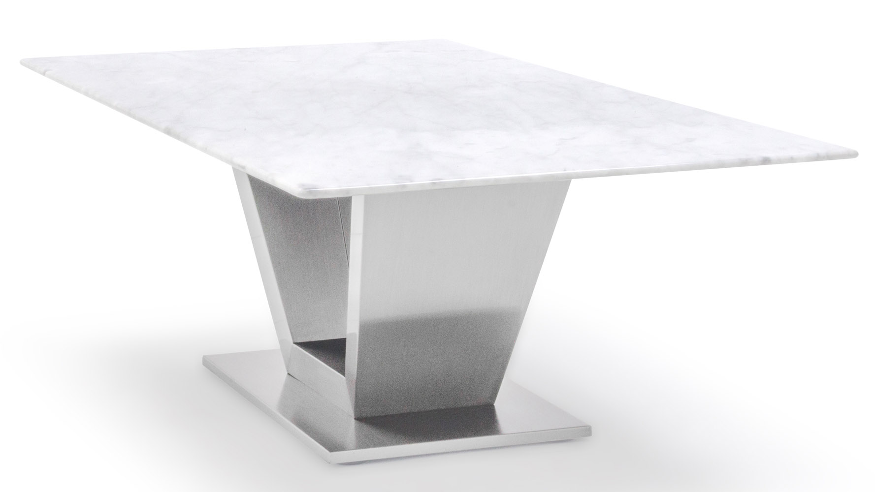 Gray And White Mable Brushed Stainless Steel Port Coffee Table Zuri Furniture