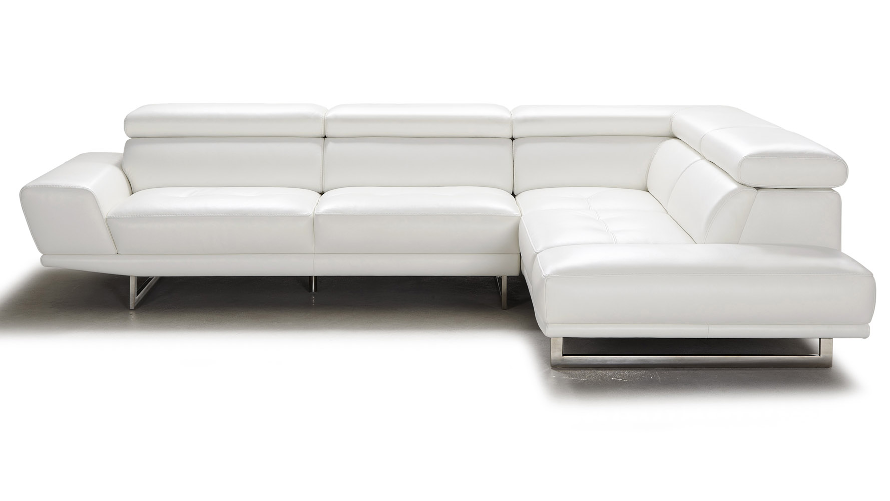 Posh White Top Grain Leather Modern Corner Sectional Sofa With