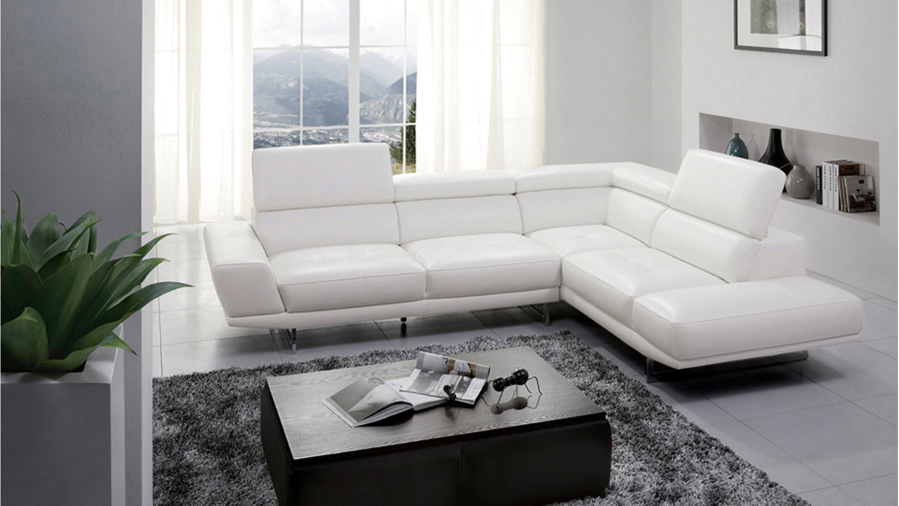 Posh White Top Grain Leather Modern Corner Sectional Sofa