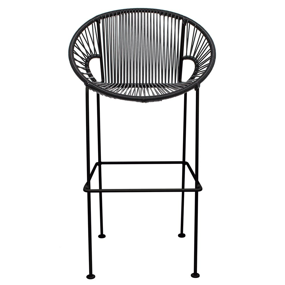 Puerto Counter Stool with Cord Seat and Black Frame | Zuri Furniture