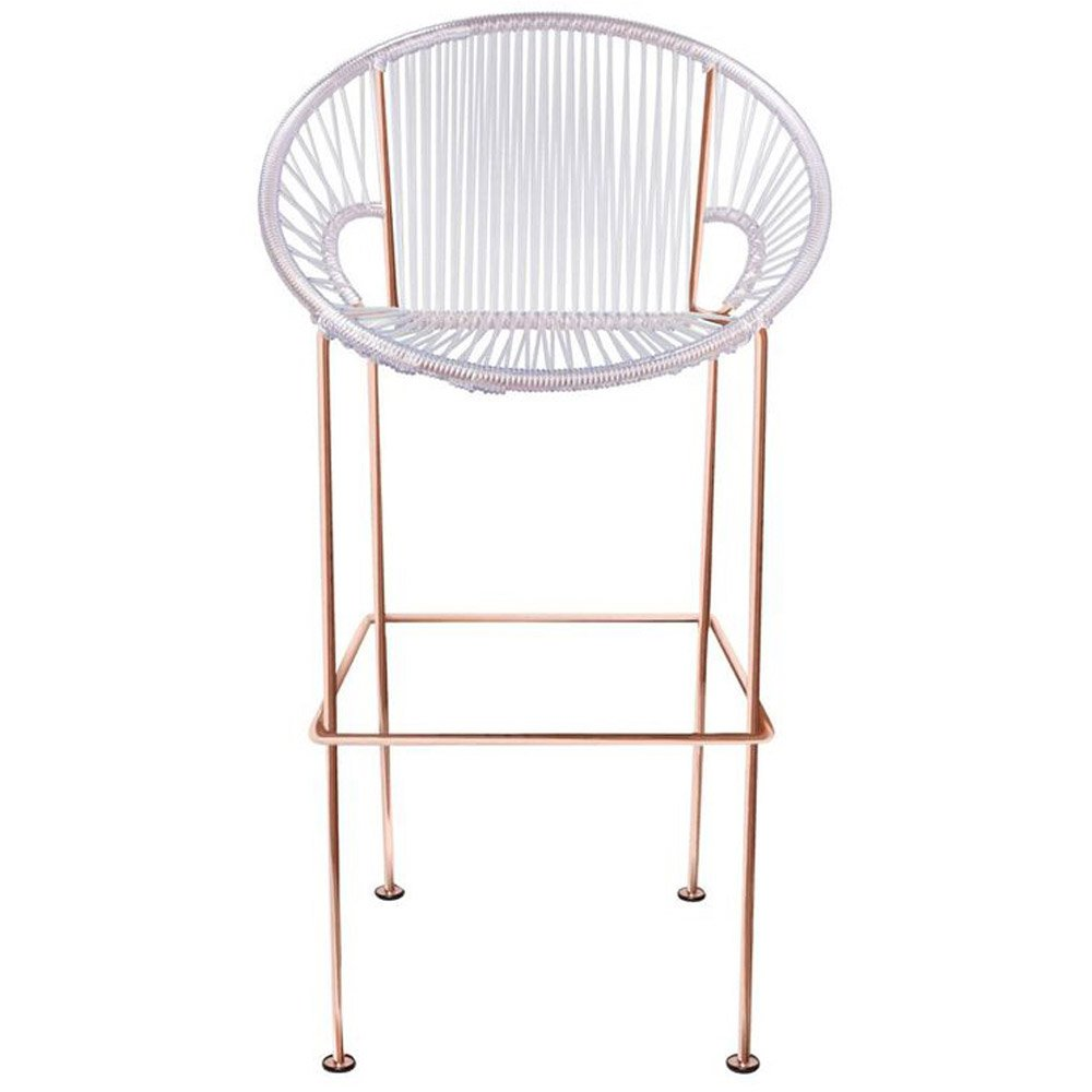 Puerto Counter Stool With Cord Seat And Copper Frame