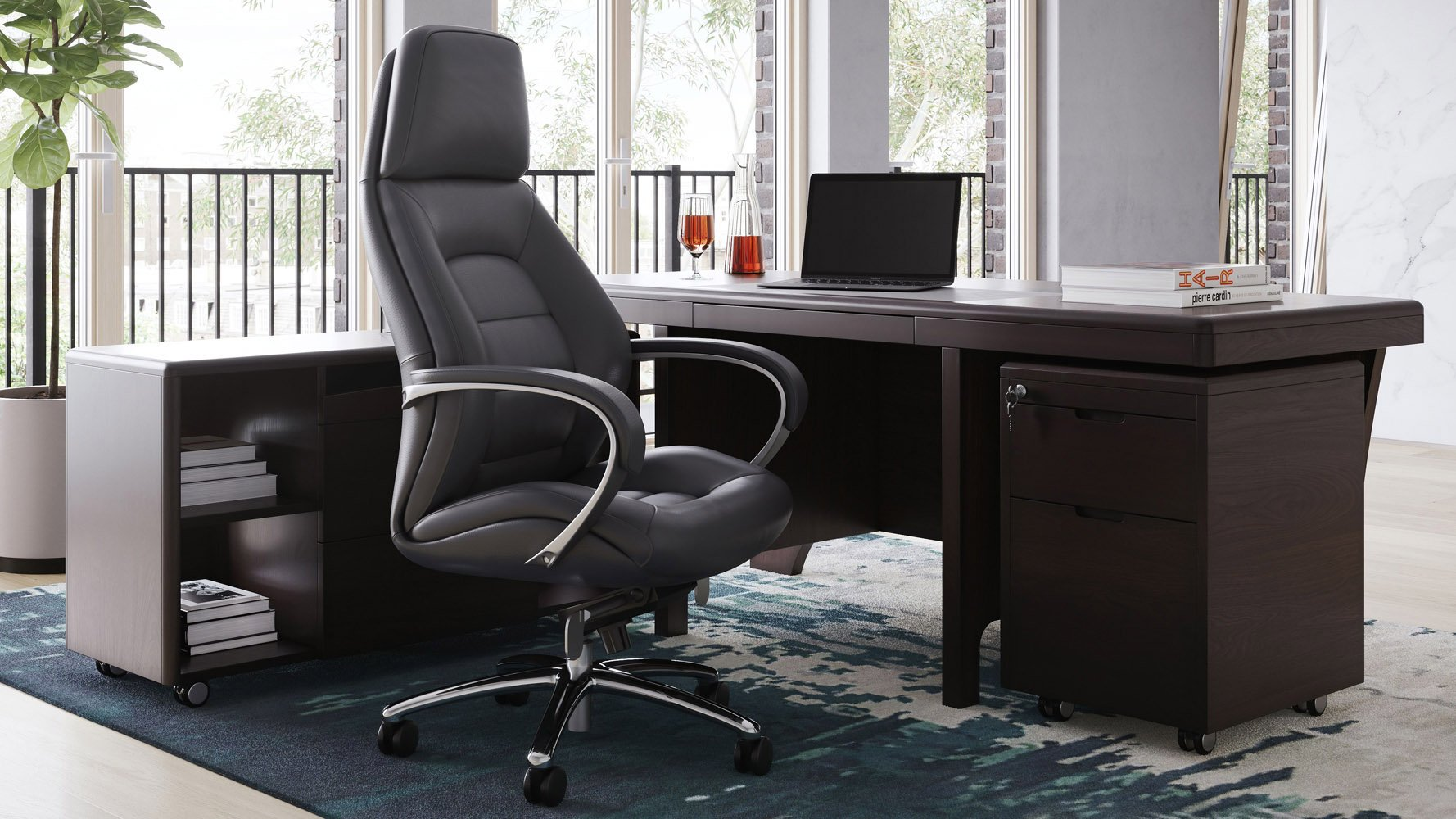 Image of: Quincy Dark Wood Executive Desk With Return Modern Contemporary Office Zuri Furniture