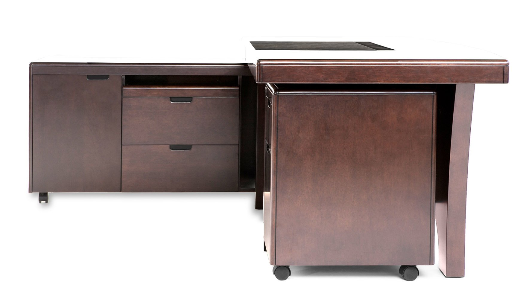 filing cabinet desk light quincy modern wood desk with rolling return and file 15391
