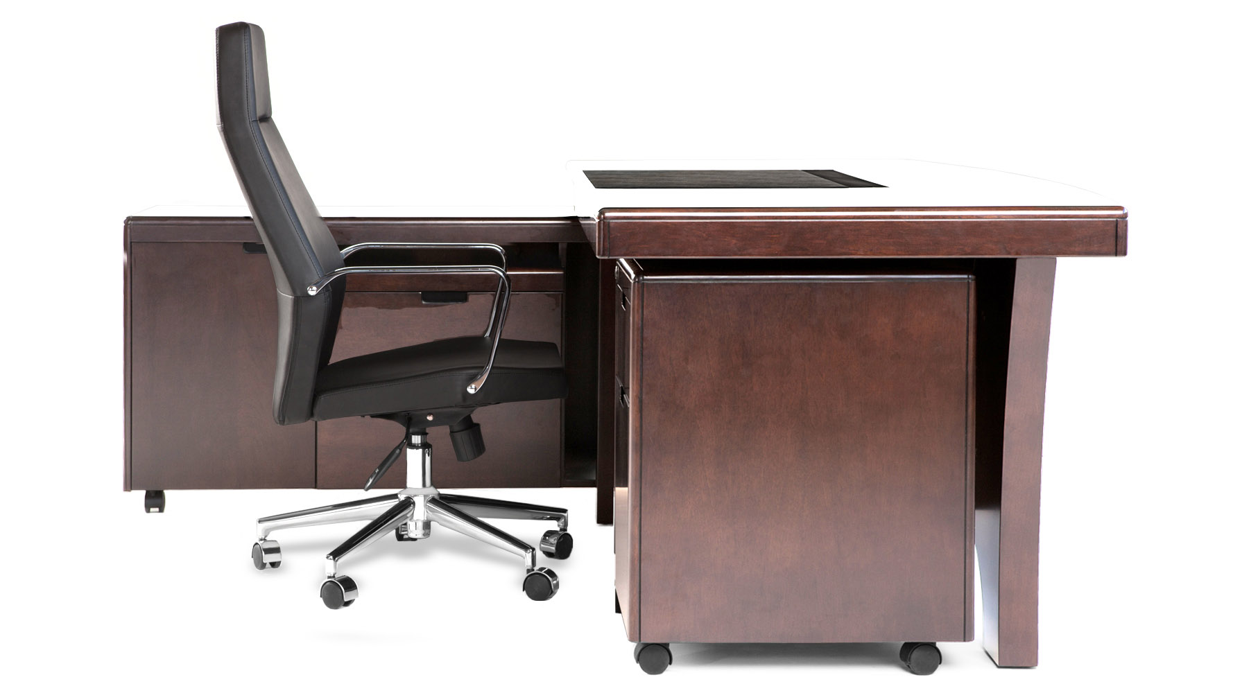 Light Quincy Modern Wood Desk With Rolling Return And File
