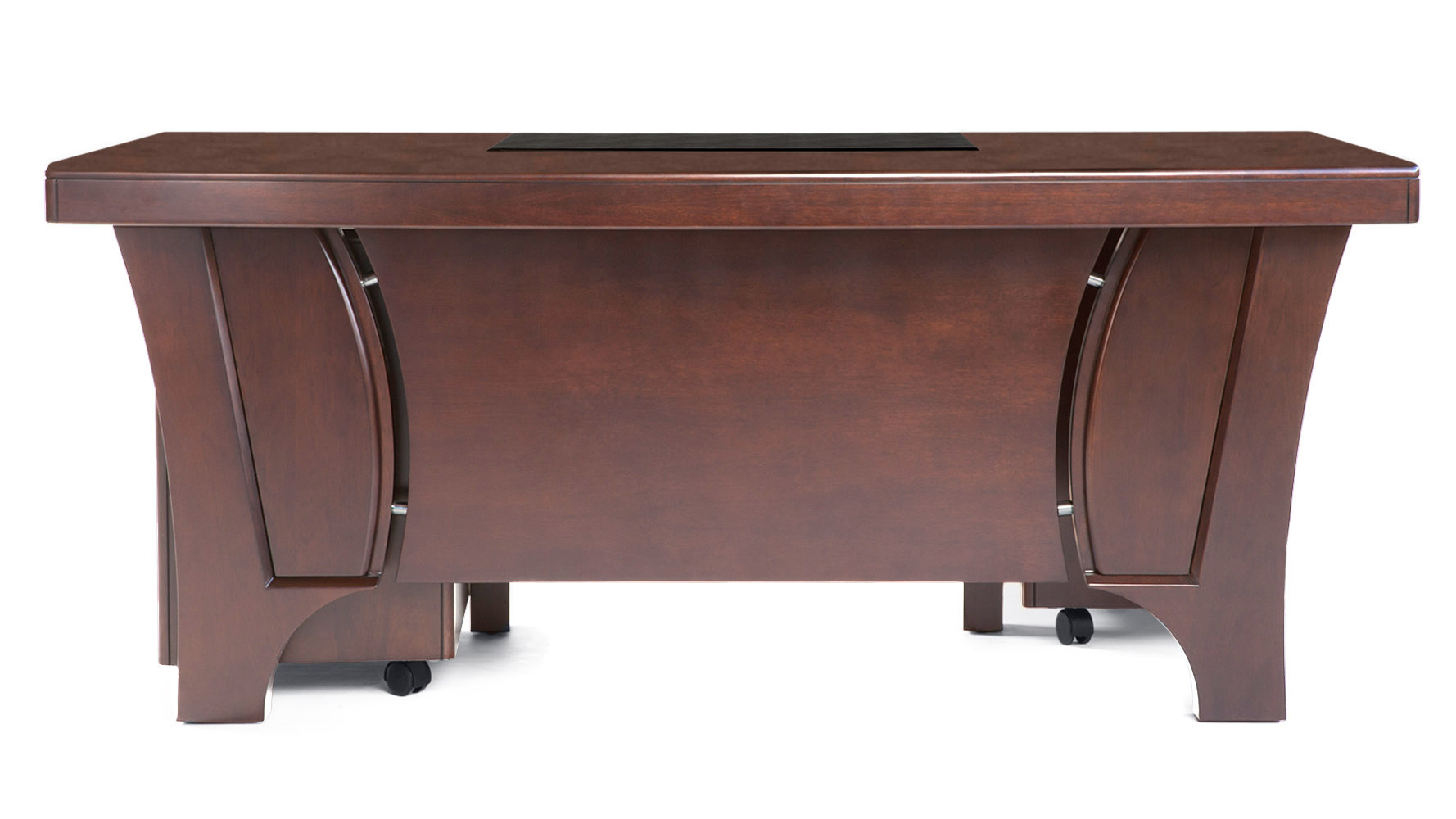 light quincy modern wood desk with rolling return and file cabinet  - mouse over image to zoom or click to view larger