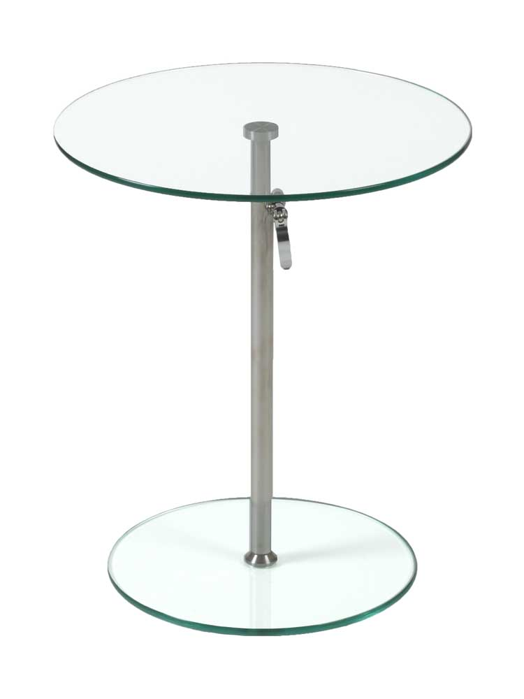 Radinka Chrome Ajustable Glass Side Table Zuri Furniture