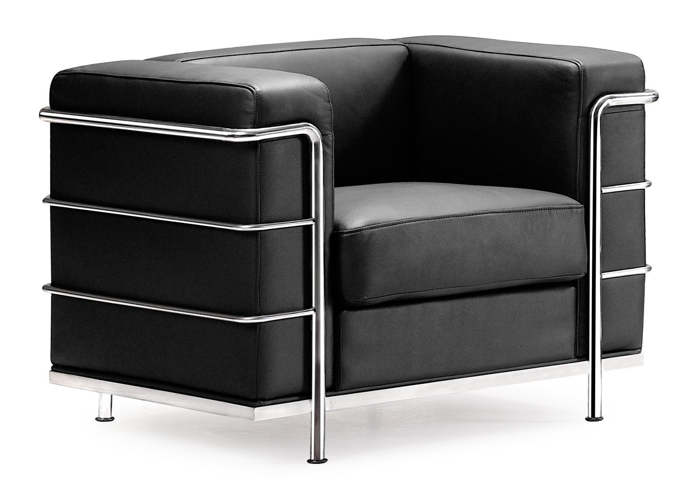 Renny Modern Leather Lounge Chair With Chromed Steel Frame