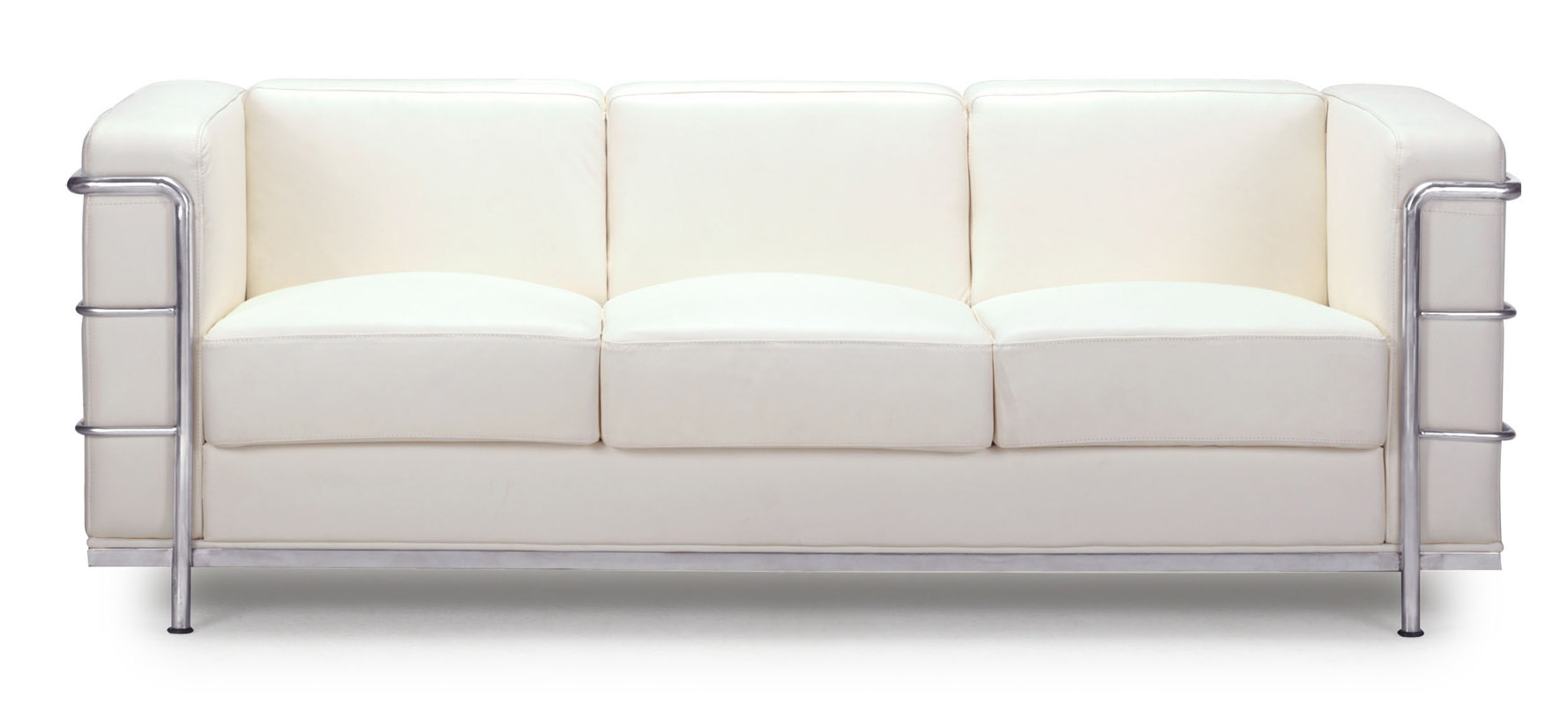 Renny Modern Leather With Chromed Steel Frame Sofa White