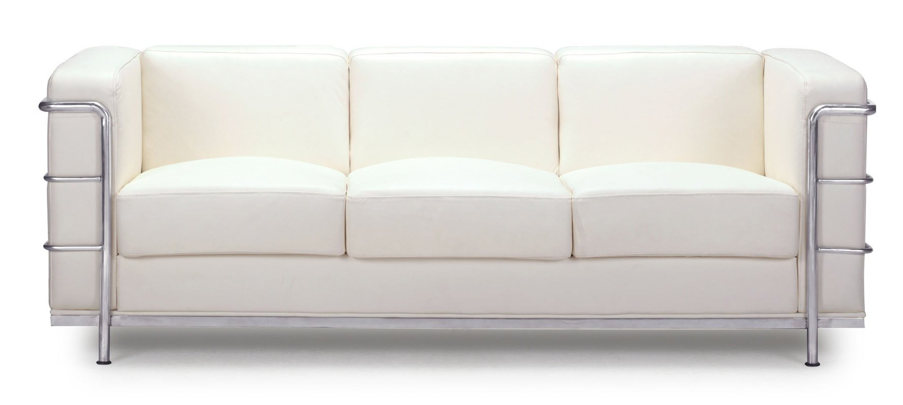 Renny Modern Leather with Chromed Steel Frame Sofa - White | Zuri ...