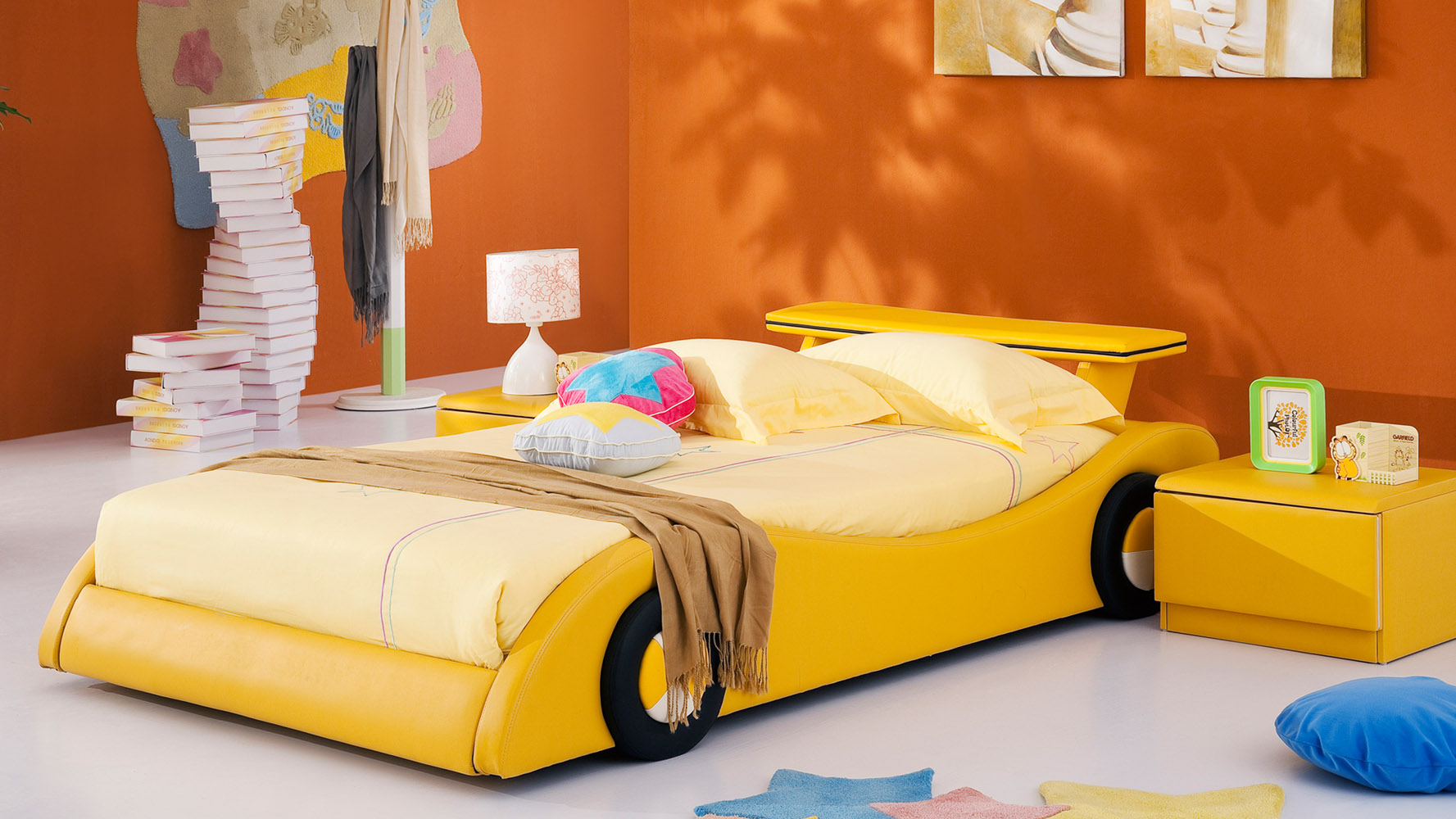 modern bedroom furniture accents contemporary bedroom zuri furniture - Yellow Bed Frame