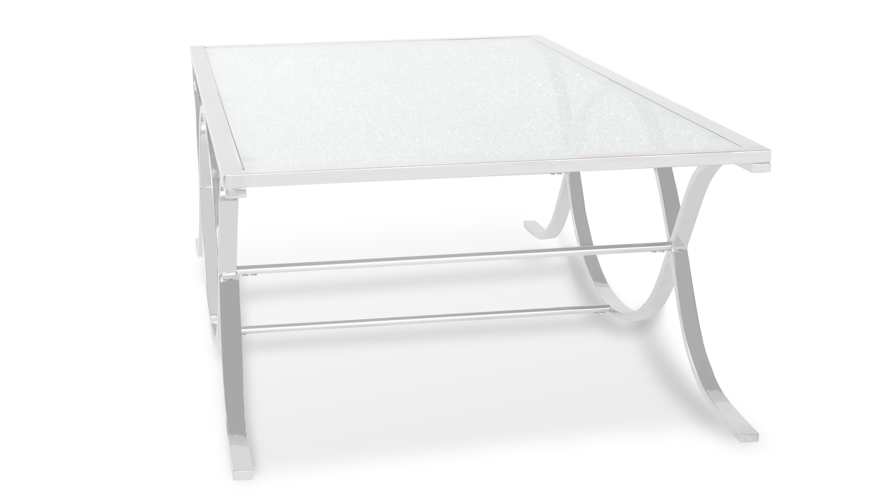 Rigado Cracked Glass Coffee Table With Chrome Base Zuri Furniture