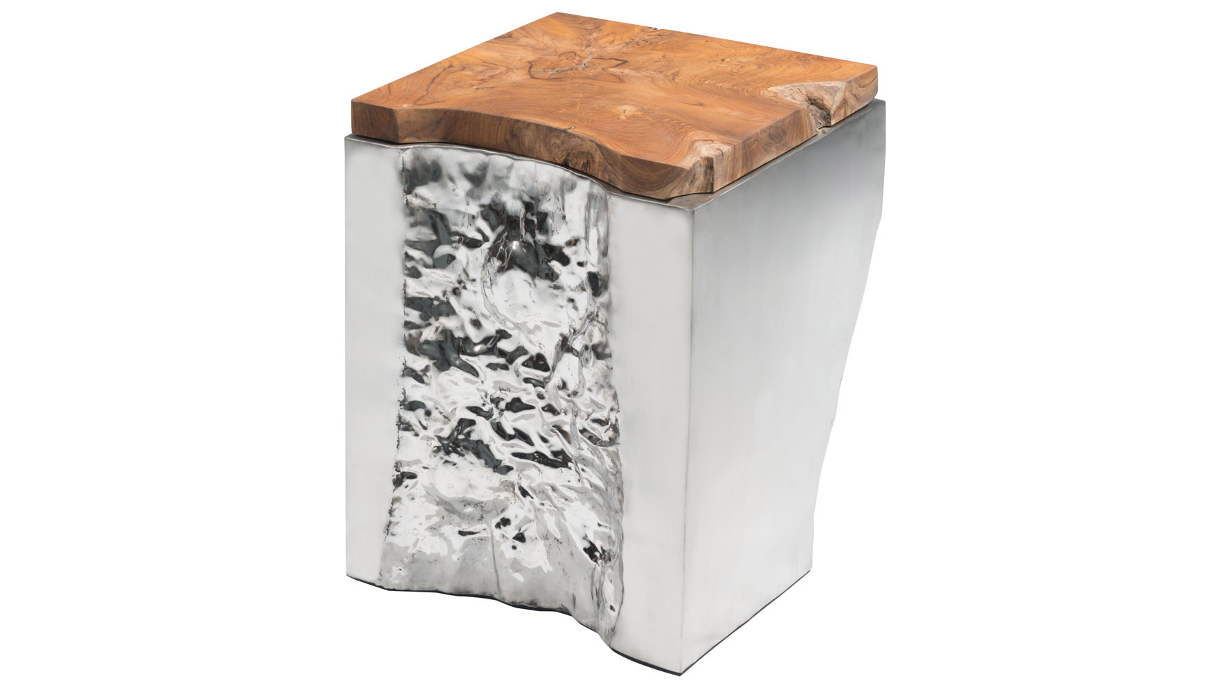 Rigel Teak And Polished Stainless Steel Side Table, Natural | Zuri Furniture