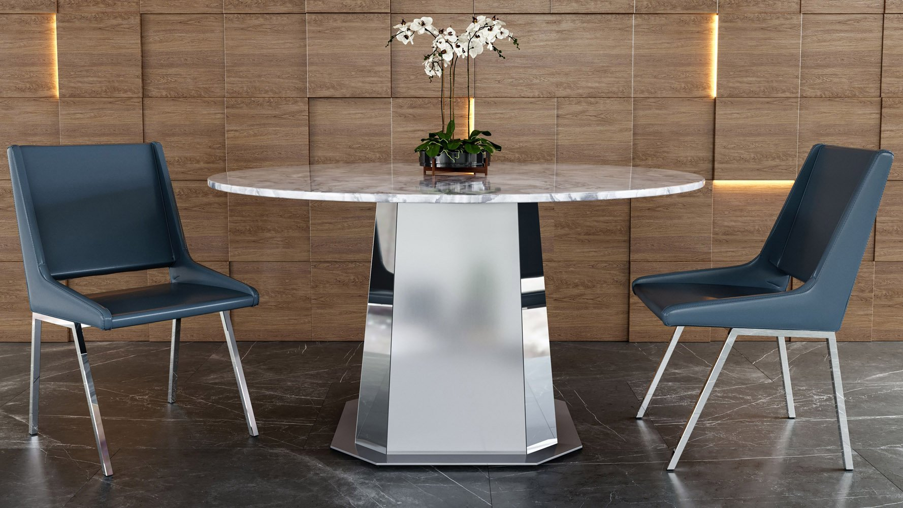 Riesling 54 Round Marble Dining Table, Round Marble Table Dining Set
