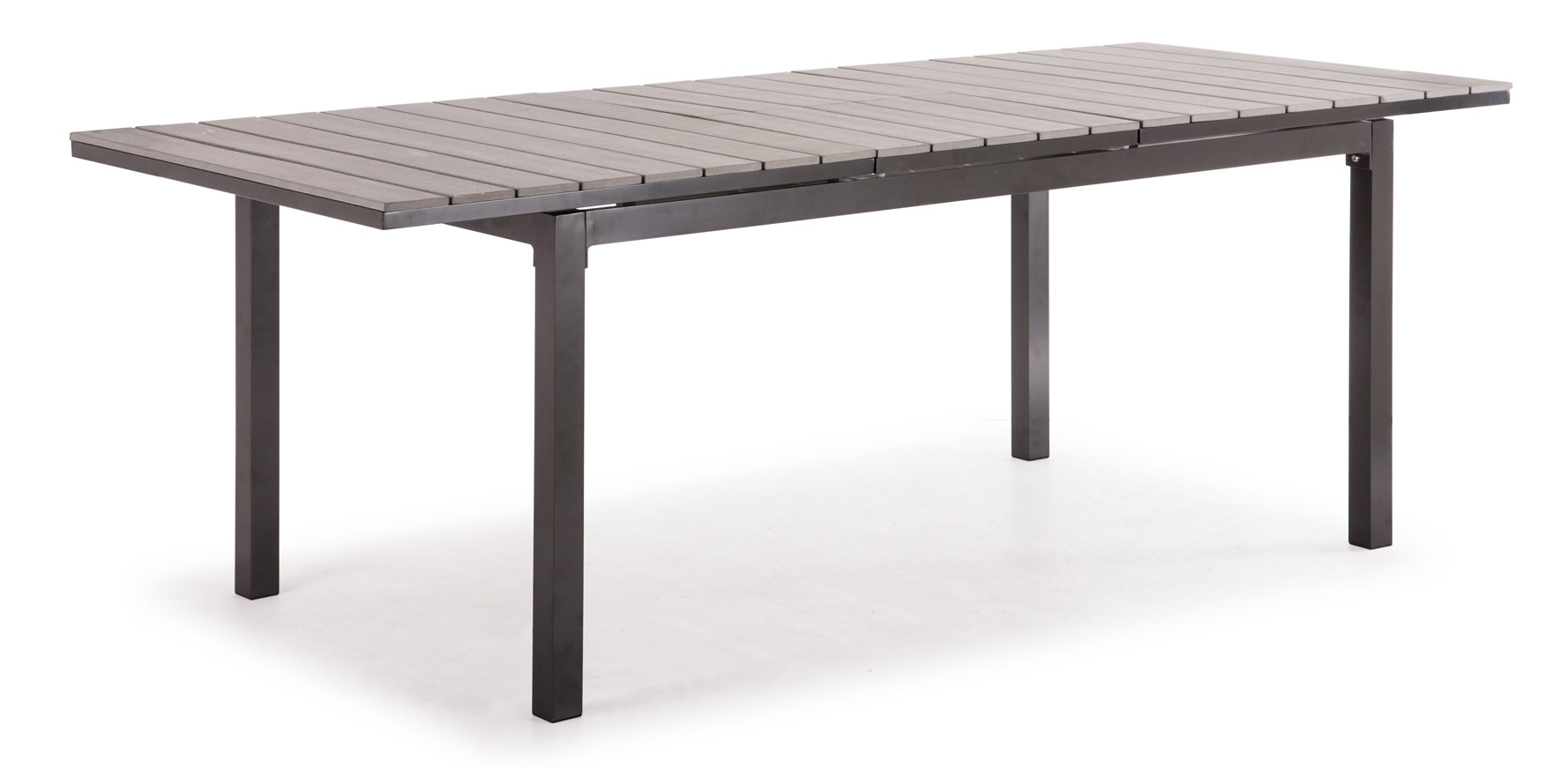 Rivage Gray Aluminum and Faux Wood Outdoor Extension  : rivageextensiondiningtablegray1 from www.zurifurniture.com size 1778 x 871 jpeg 122kB