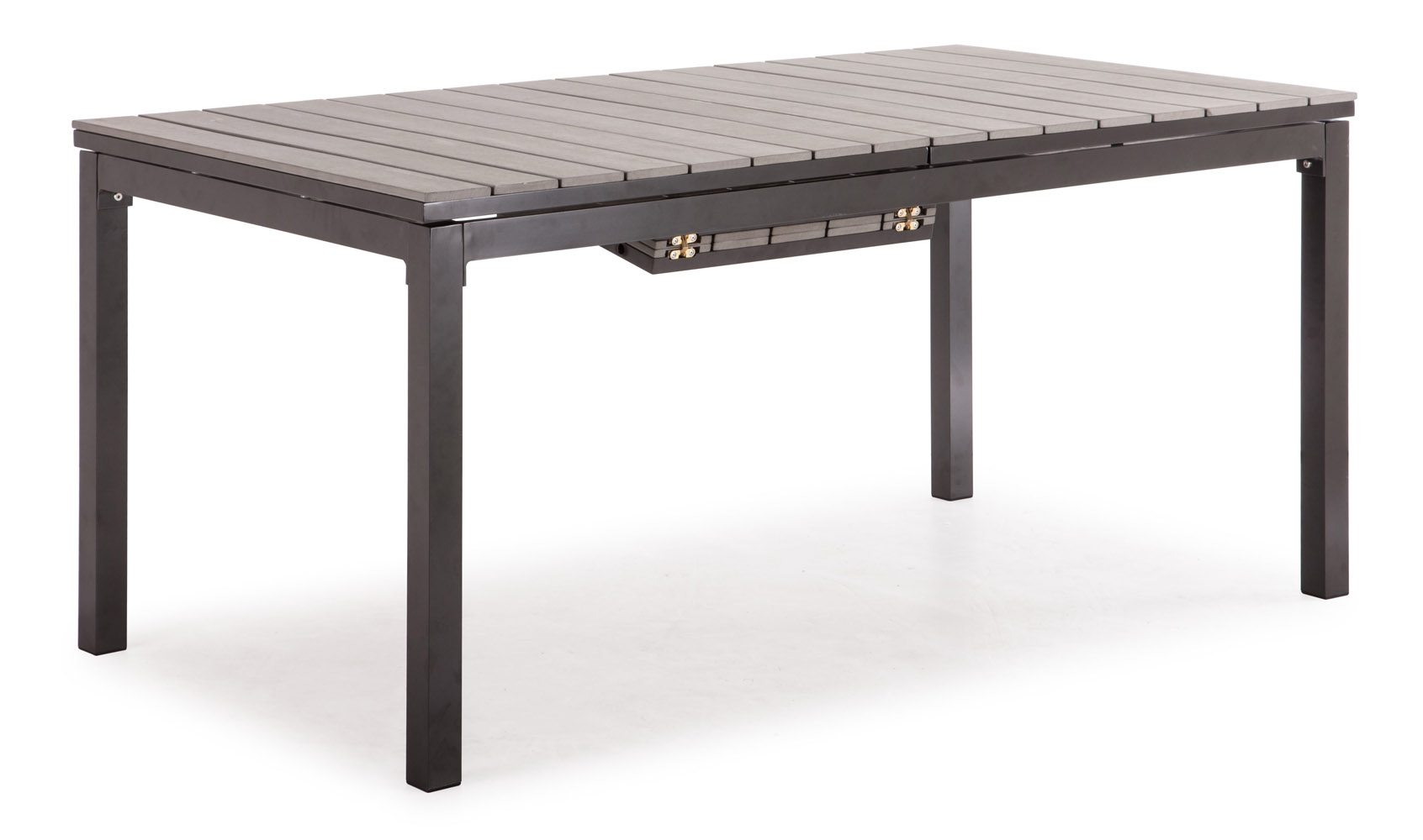 Rivage Gray Aluminum and Faux Wood Outdoor Extension  : rivageextensiondiningtablegray2 from www.zurifurniture.com size 1692 x 1000 jpeg 135kB